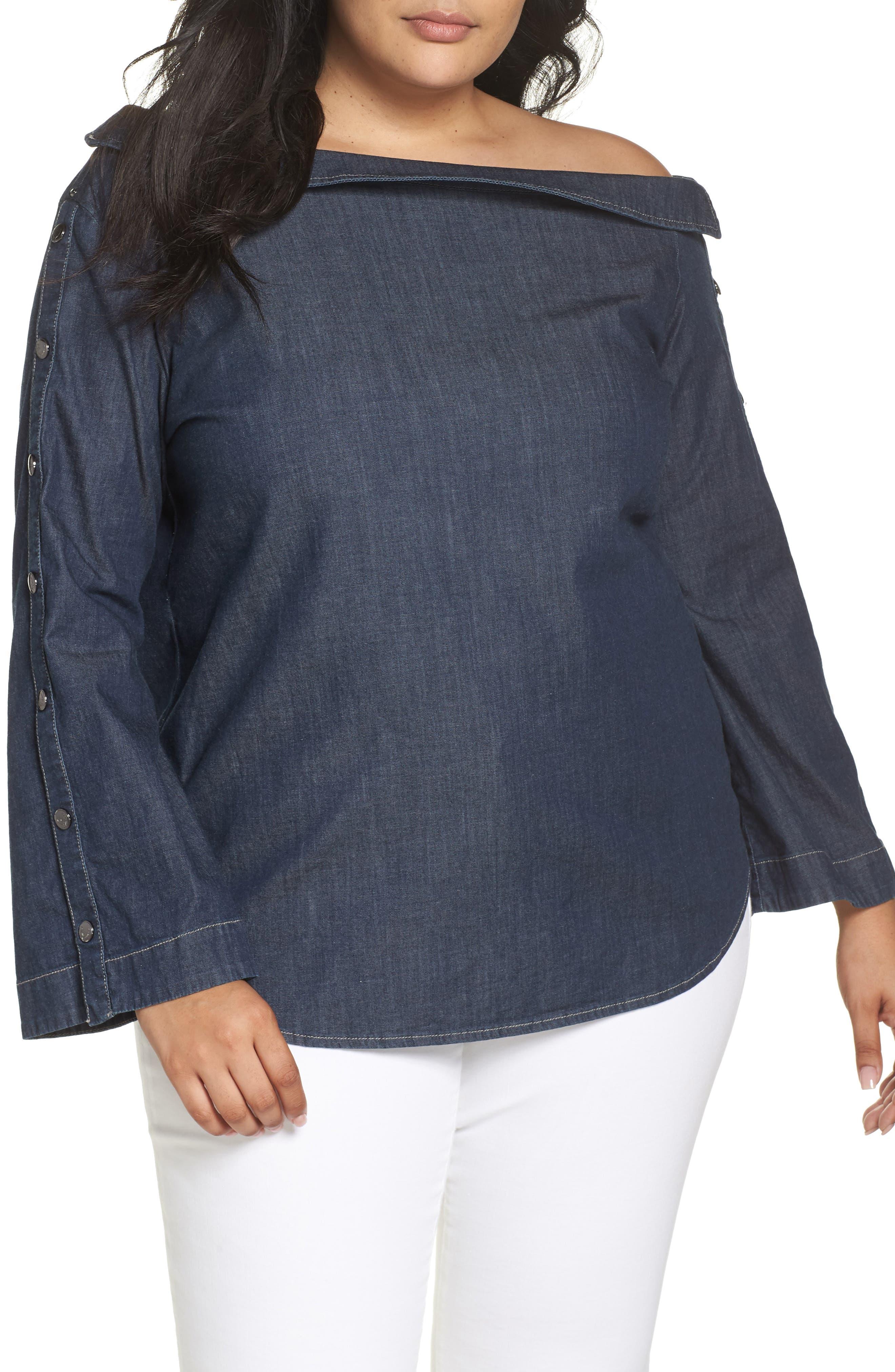 ASHLEY GRAHAM X MARINA RINALDI Banchisa Off-Shoulder Top in Navy Blue 2