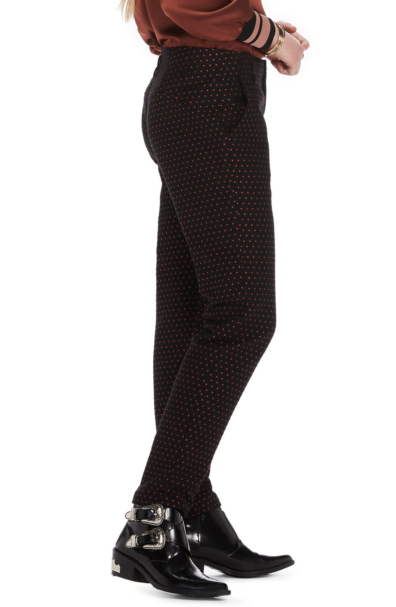 Starry Jacquard Tailored Stretch Pants,                             Alternate thumbnail 3, color,                             BLACK W/ SMALL STAR PRINT