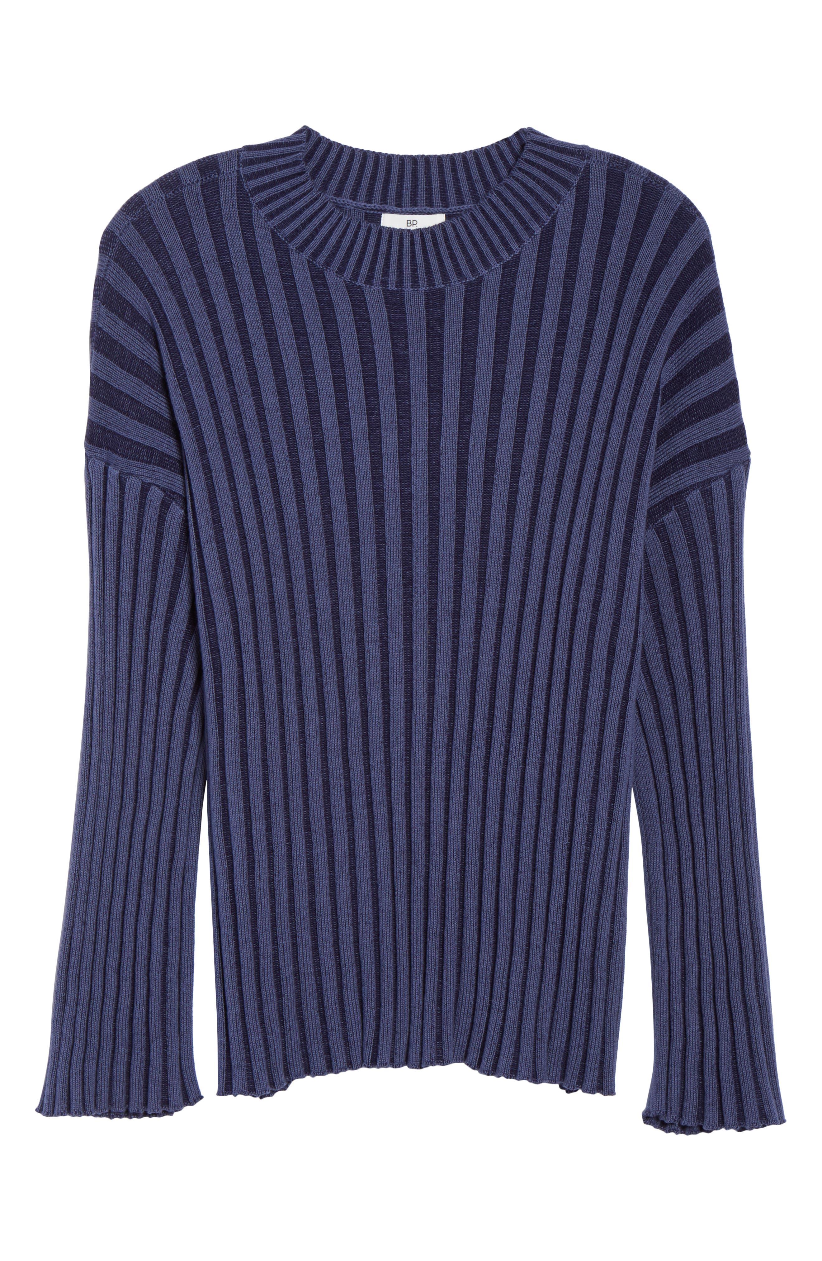 Shadow Rib Crop Sweater,                             Alternate thumbnail 12, color,                             NAVY EVENING