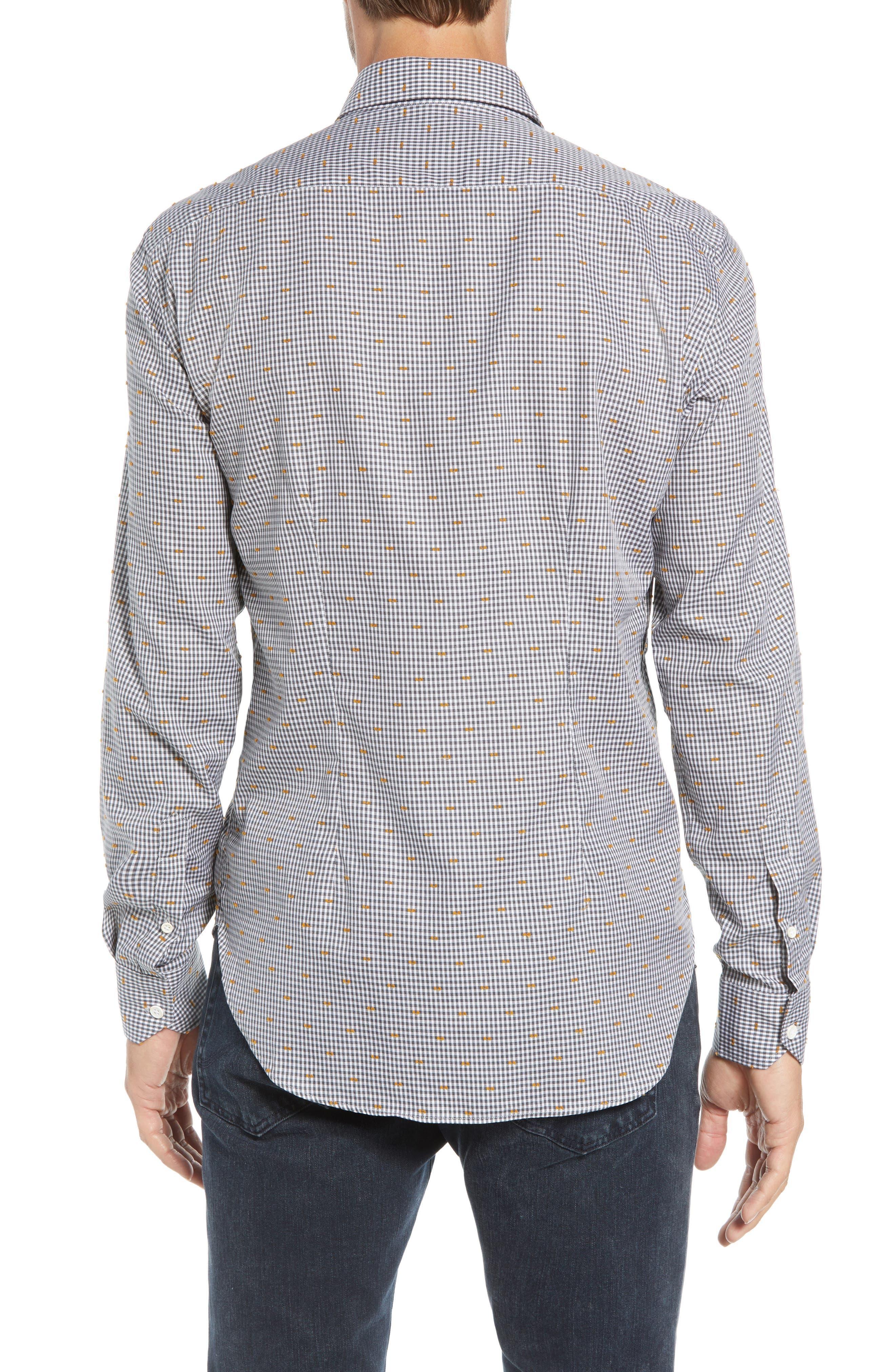 CULTURATA,                             Coupé Dot Tailored Fit Gingham Sport Shirt,                             Alternate thumbnail 3, color,                             020
