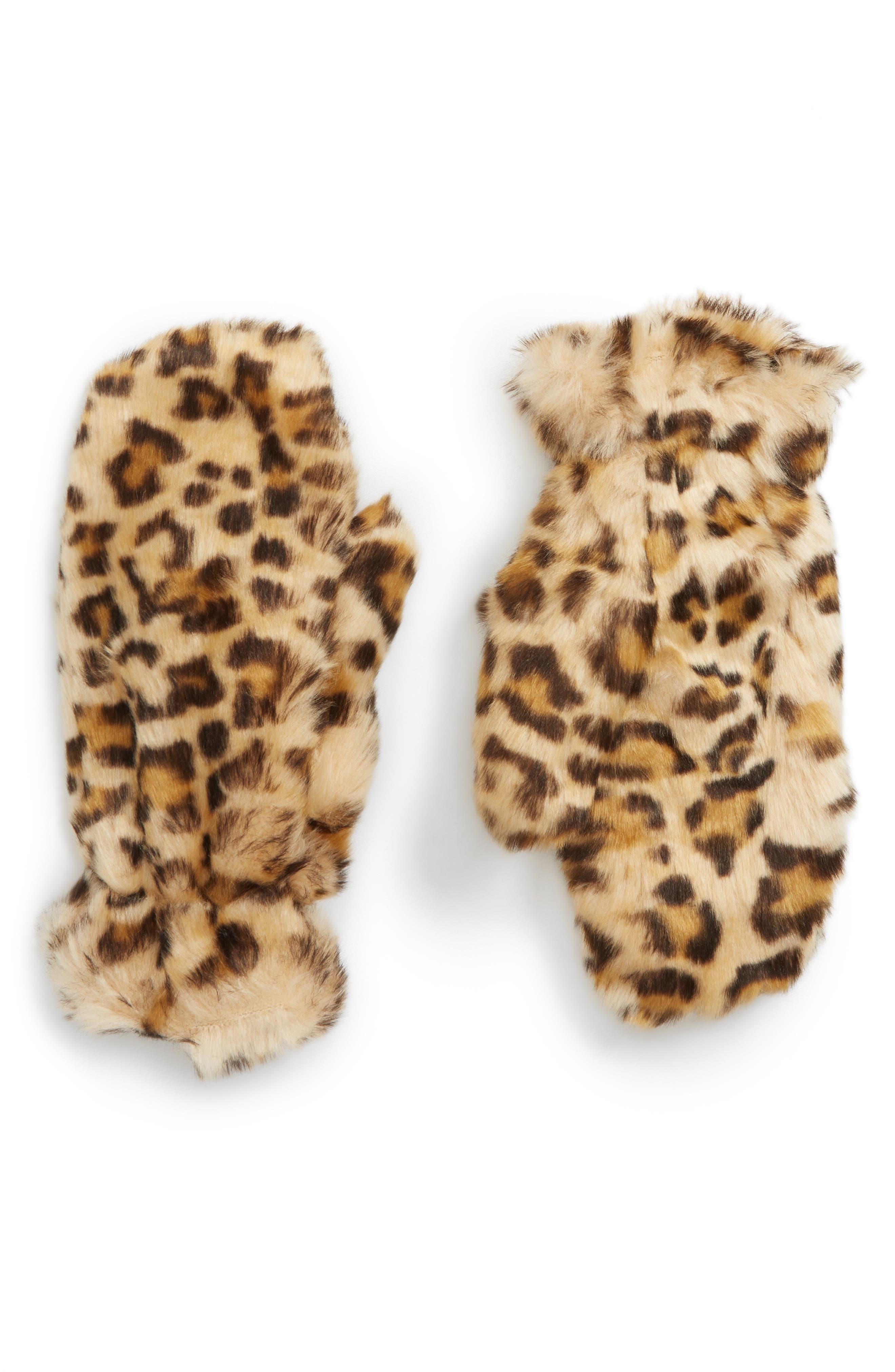 Leopard Print Faux Fur Mittens,                         Main,                         color, BROWN MULTI