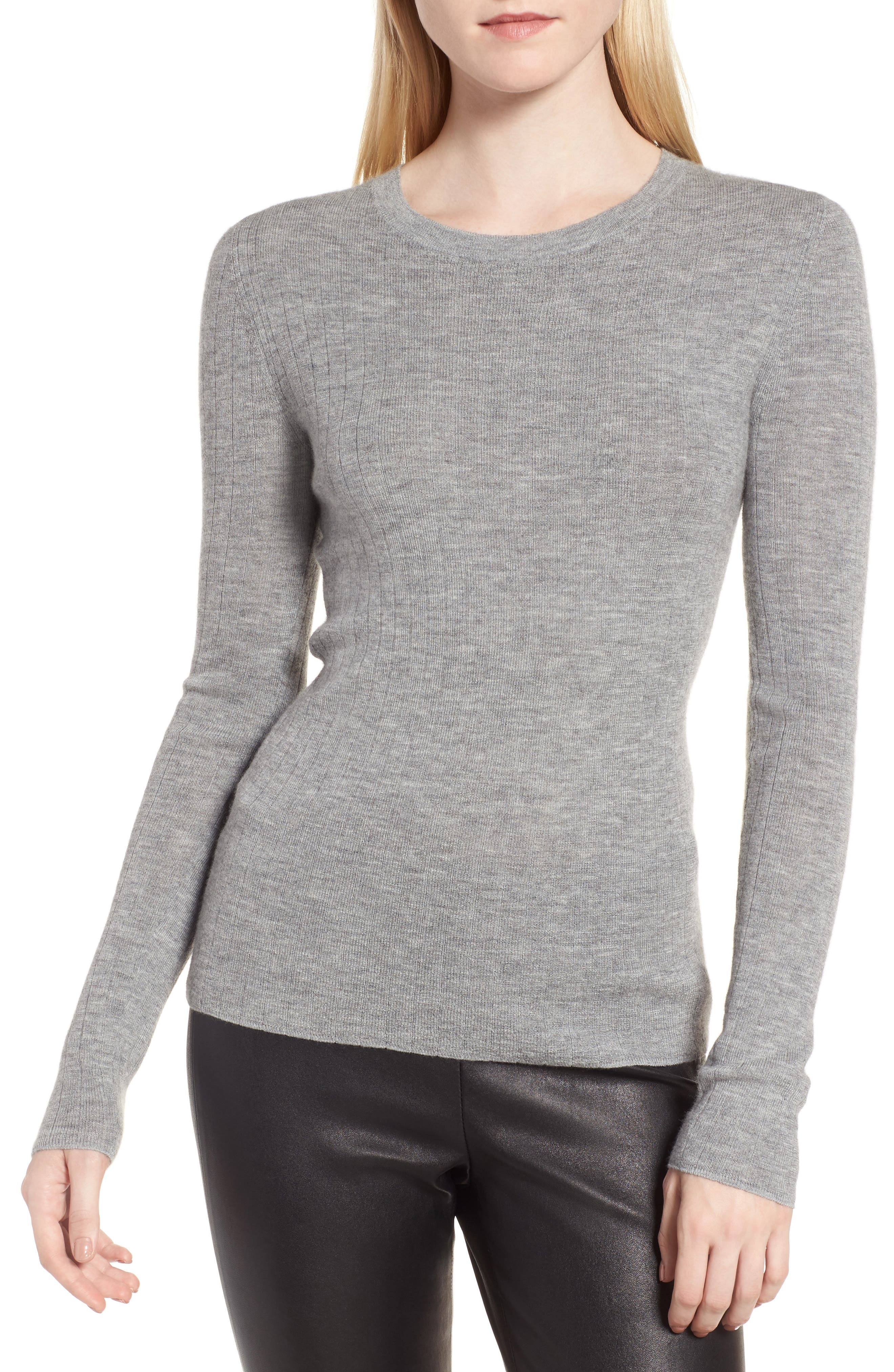 Ribbed Cashmere Sweater,                             Main thumbnail 1, color,                             030