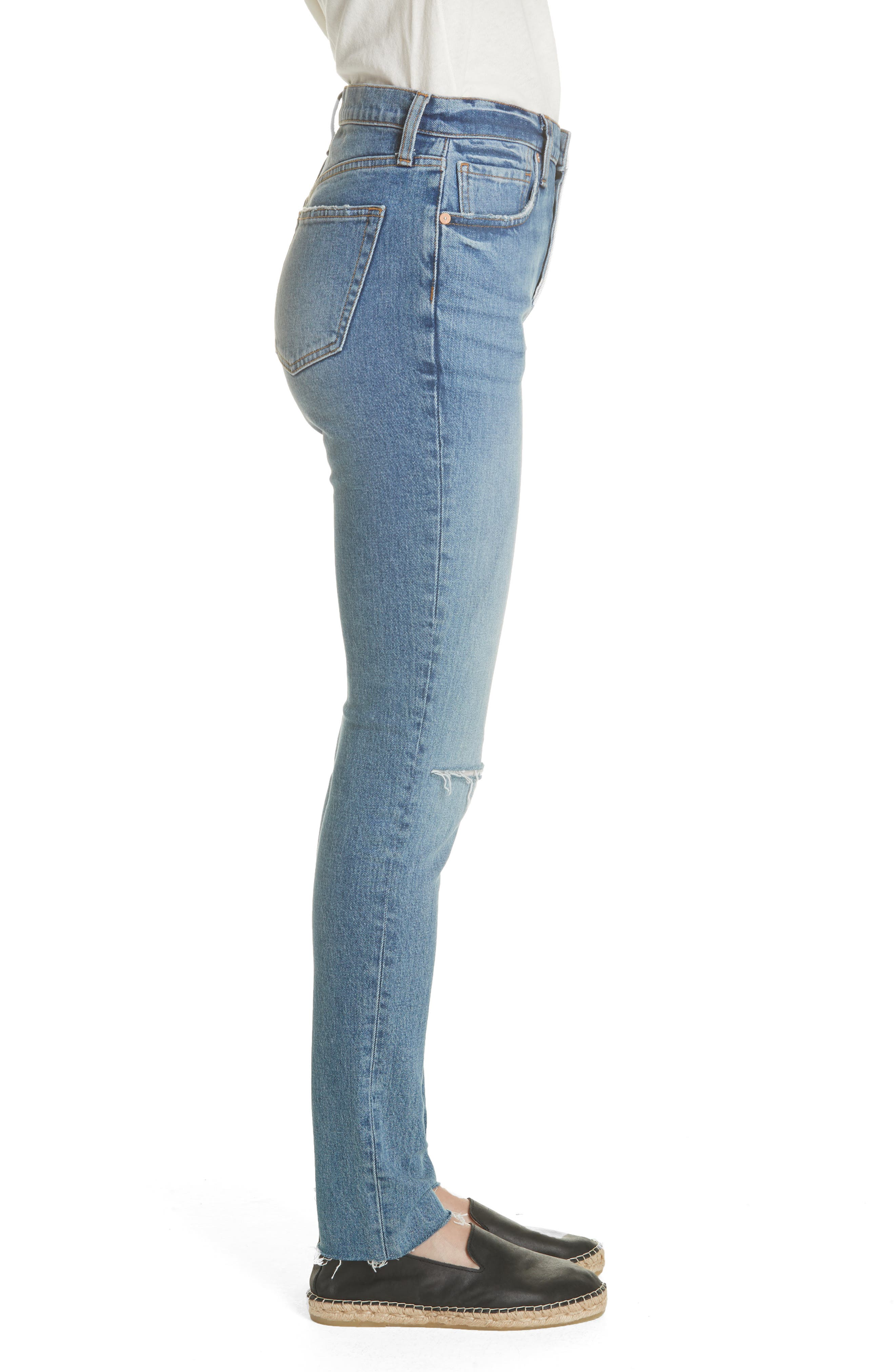 We the Free by Free People Stella High Waist Raw Hem Skinny Jeans,                             Alternate thumbnail 3, color,                             BLUE