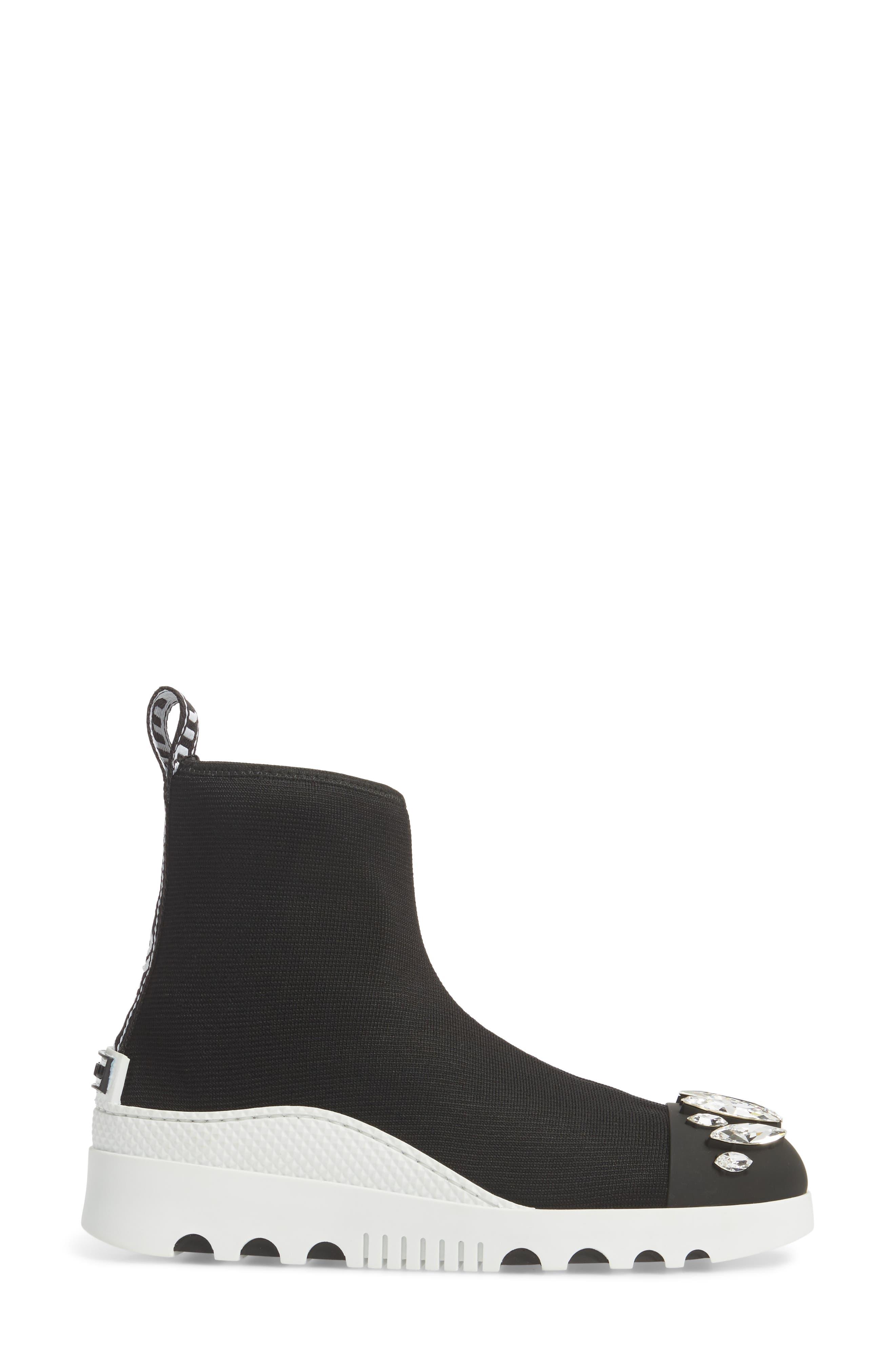 Embellished Sock Boot,                             Alternate thumbnail 3, color,                             BLACK
