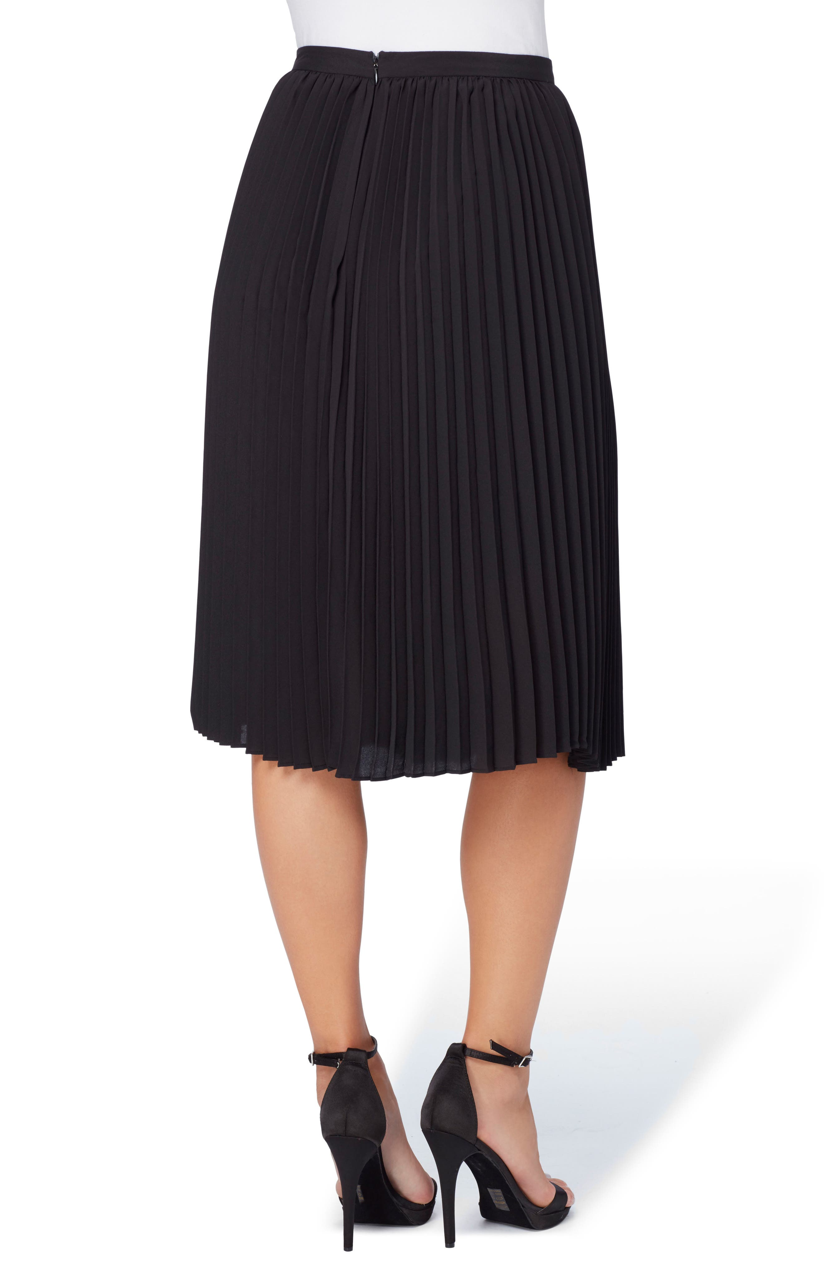 Sylvia Pleated Chiffon Skirt,                             Alternate thumbnail 3, color,