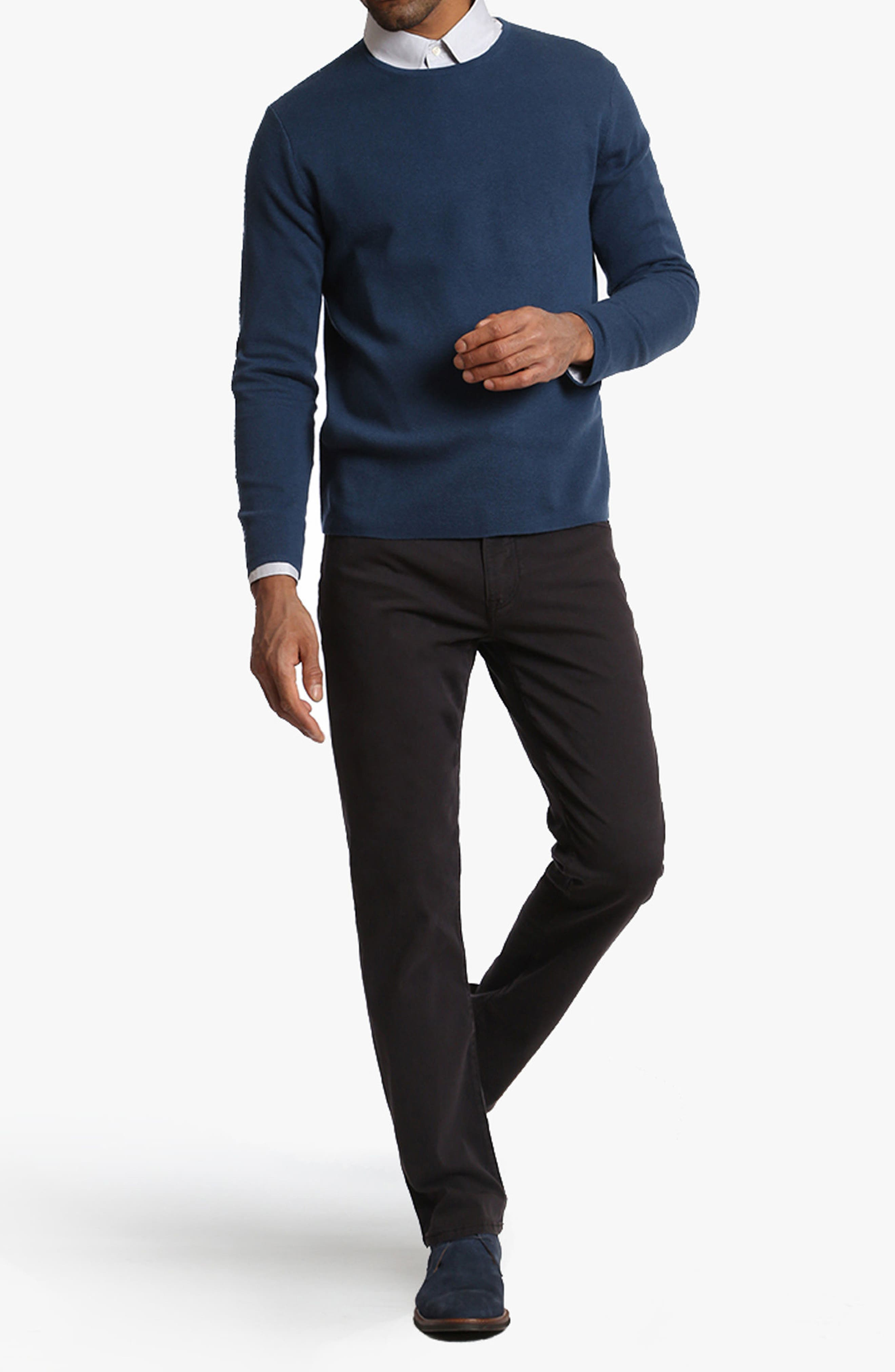 Courage Straight Leg Twill Pants,                             Alternate thumbnail 4, color,                             BLUE-GREY TWILL
