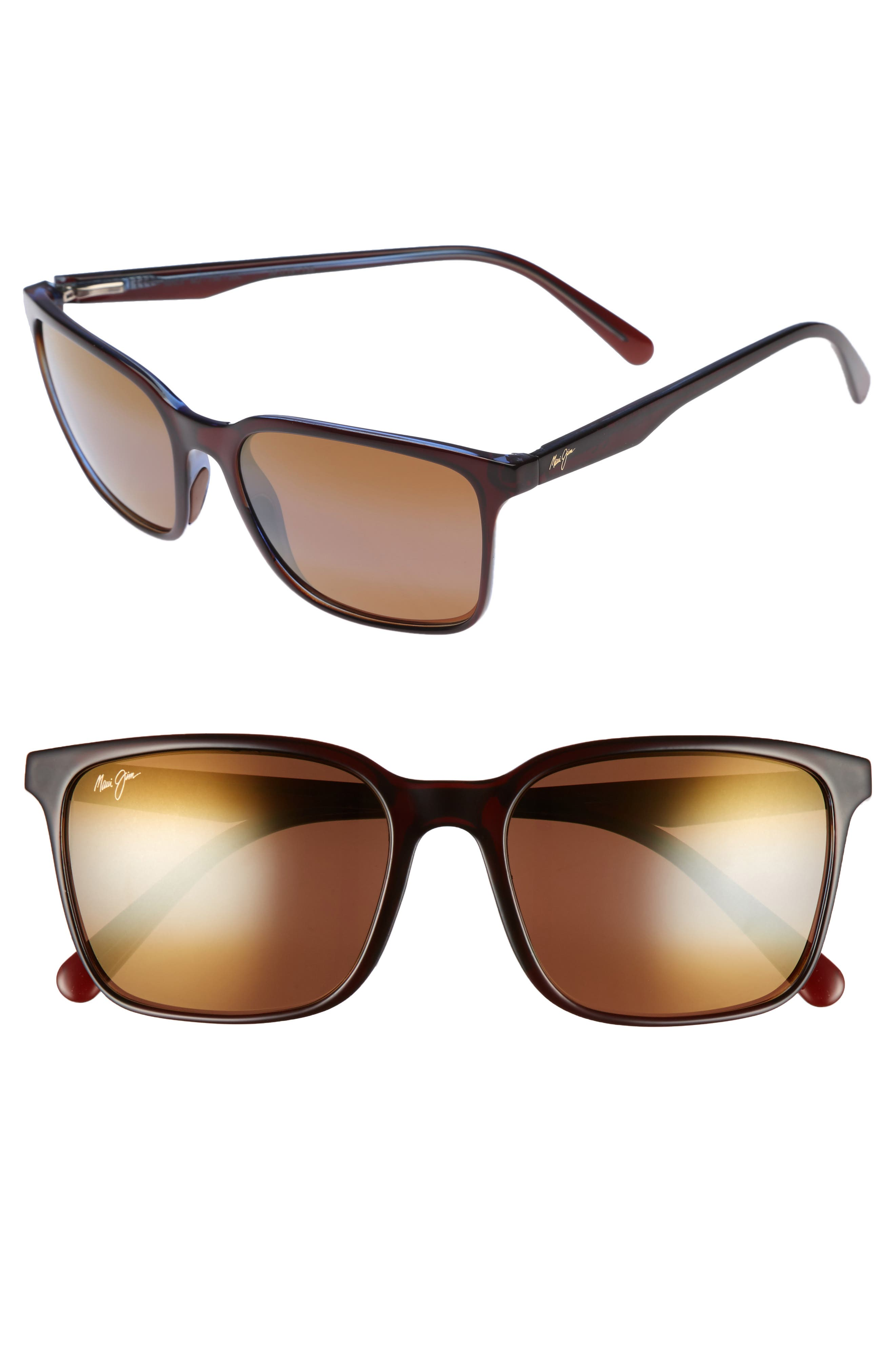 Wild Coast 56mm Polarized Sunglasses,                             Main thumbnail 1, color,                             ROOT BEER BLUE/ BRONZE