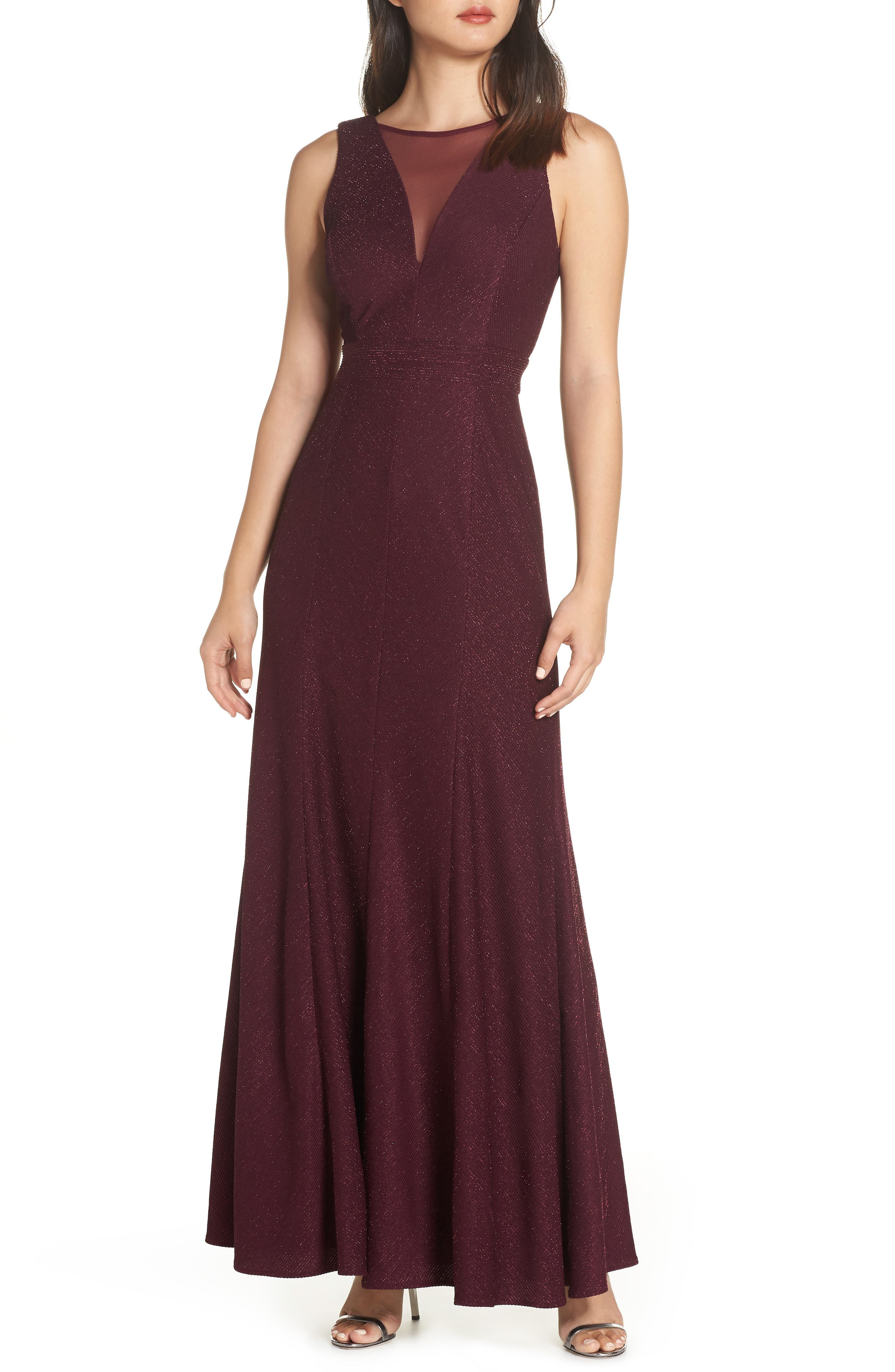 Morgan & Co. Metallic Ribbed Trumpet Gown, Red