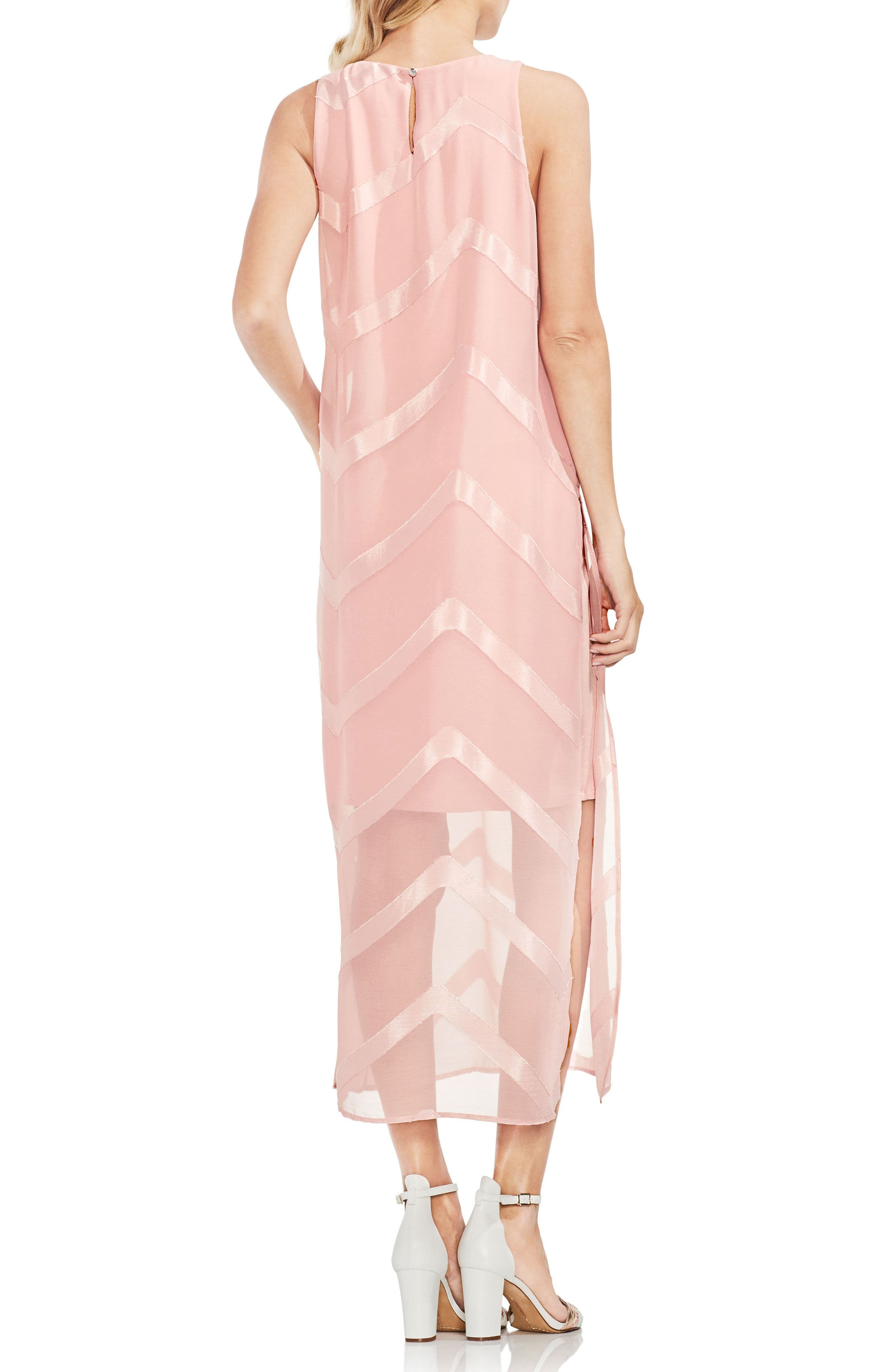 Sheer Chevron Maxi Dress,                             Alternate thumbnail 4, color,
