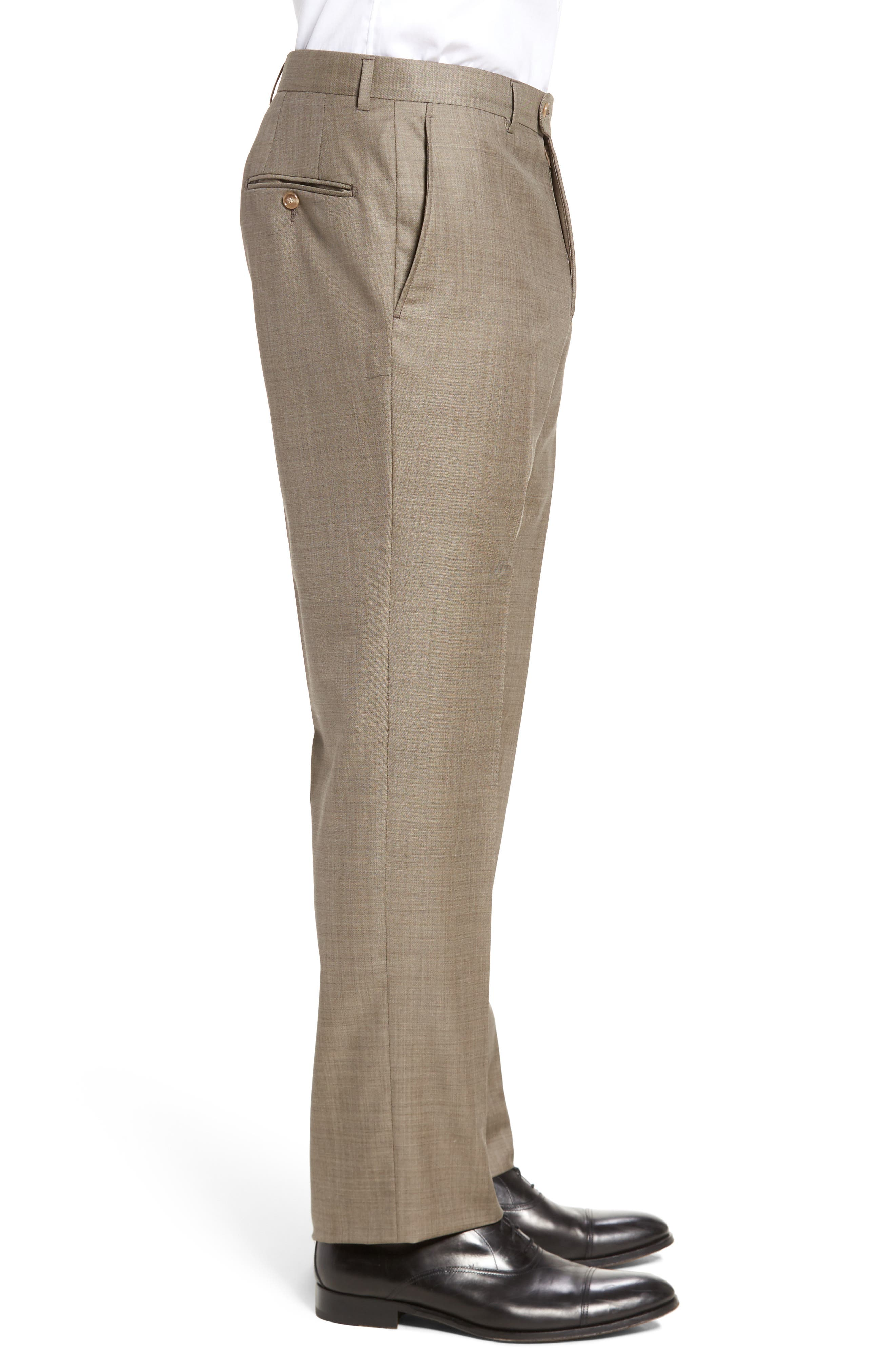 Classic B Fit Flat Front Solid Wool Trousers,                             Alternate thumbnail 4, color,                             TAN SHARKSKIN