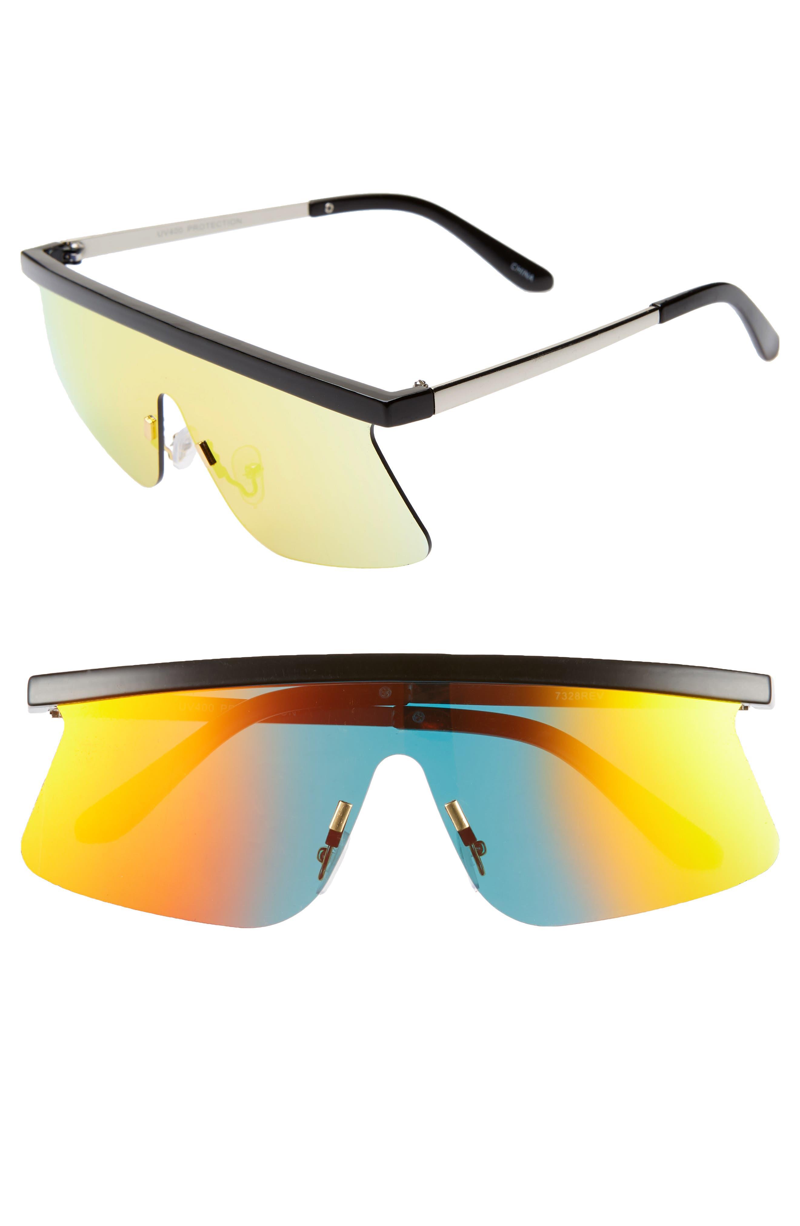 Brow Bar Shield Sunglasses,                             Main thumbnail 1, color,                             BLACK/ ORANGE