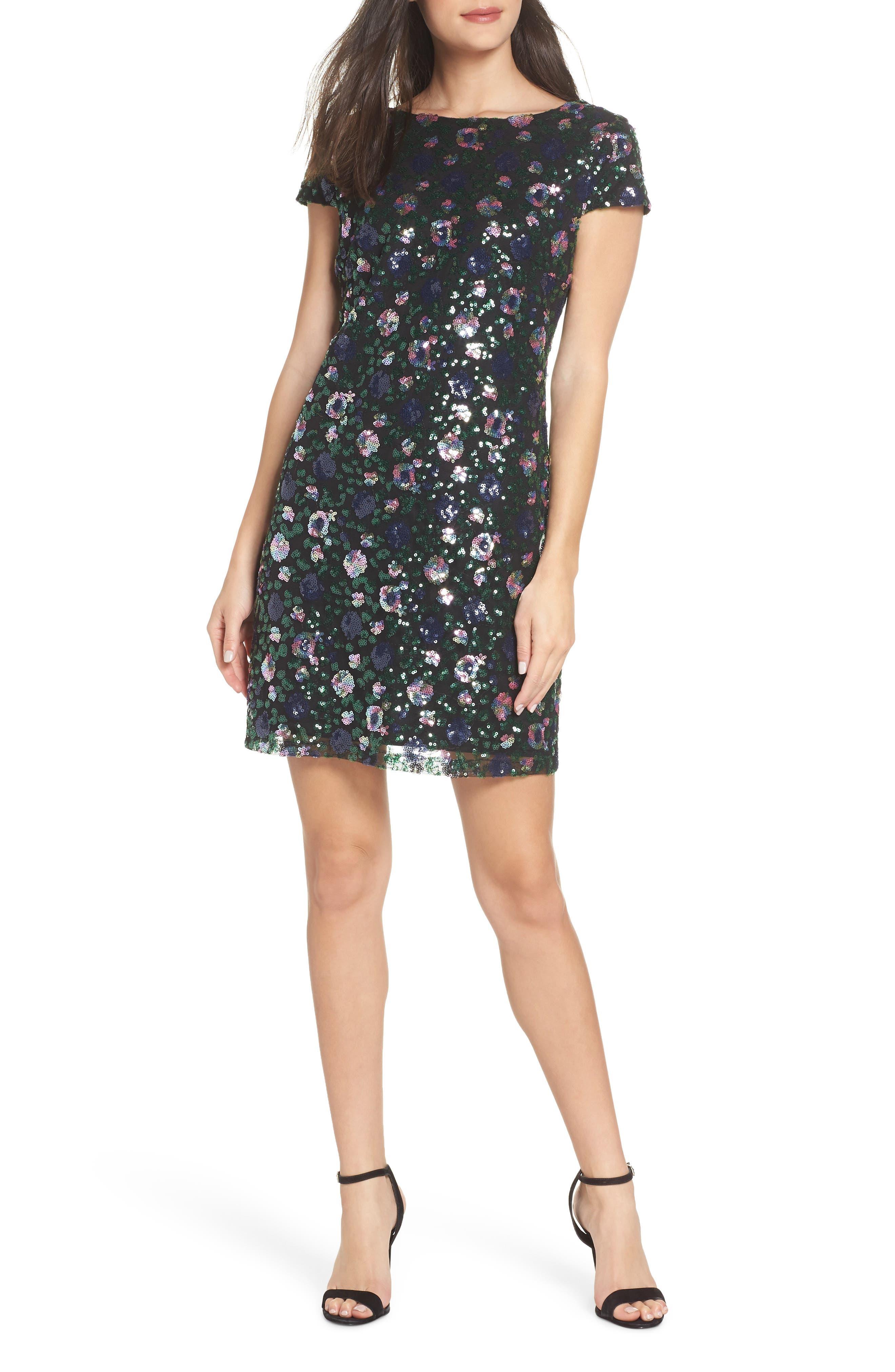 Floral Sequin Sheath Dress,                             Main thumbnail 1, color,                             PURPLE/ GREEN