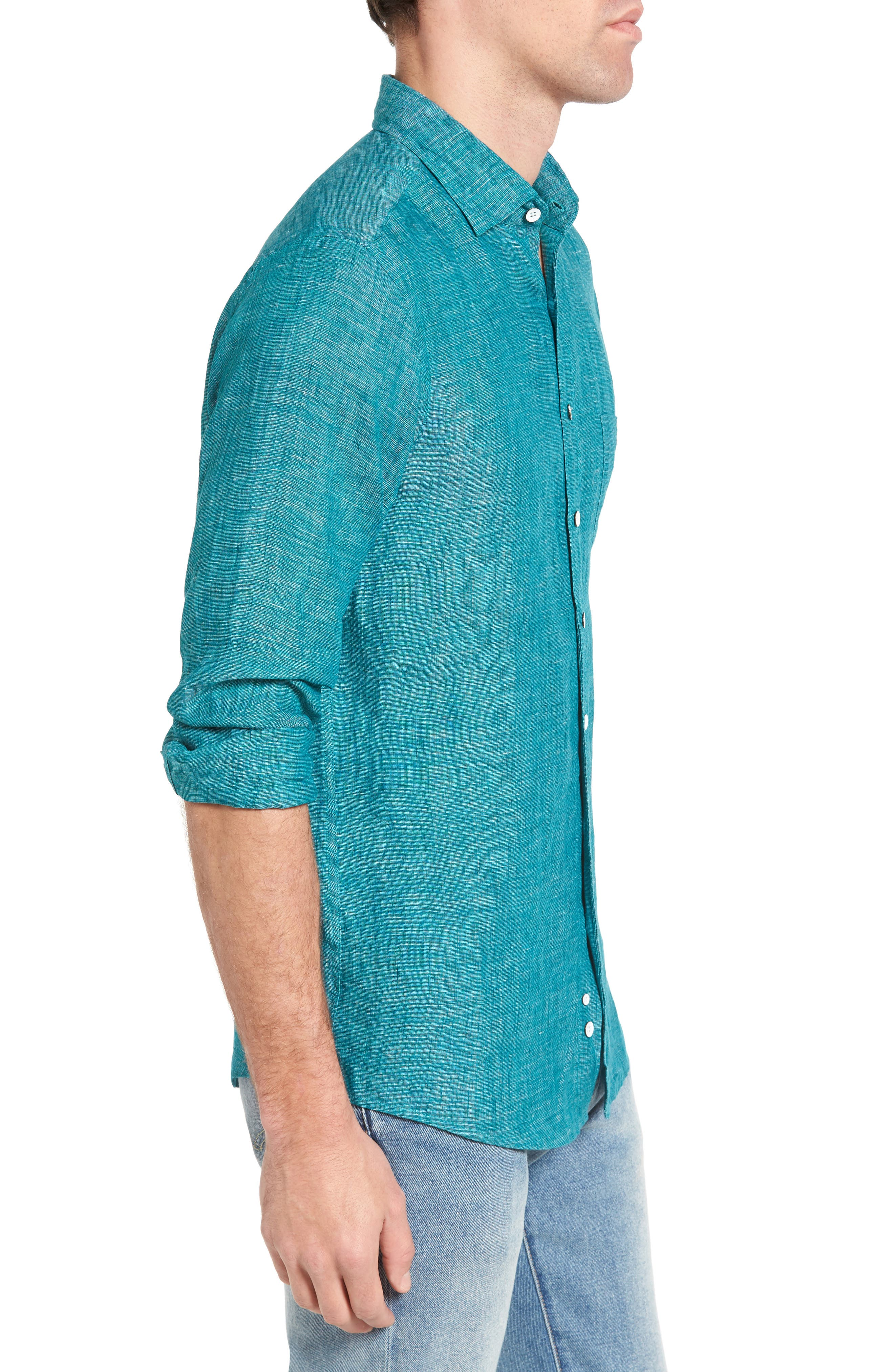 Norsewood Sports Fit Linen Sport Shirt,                             Alternate thumbnail 3, color,                             342