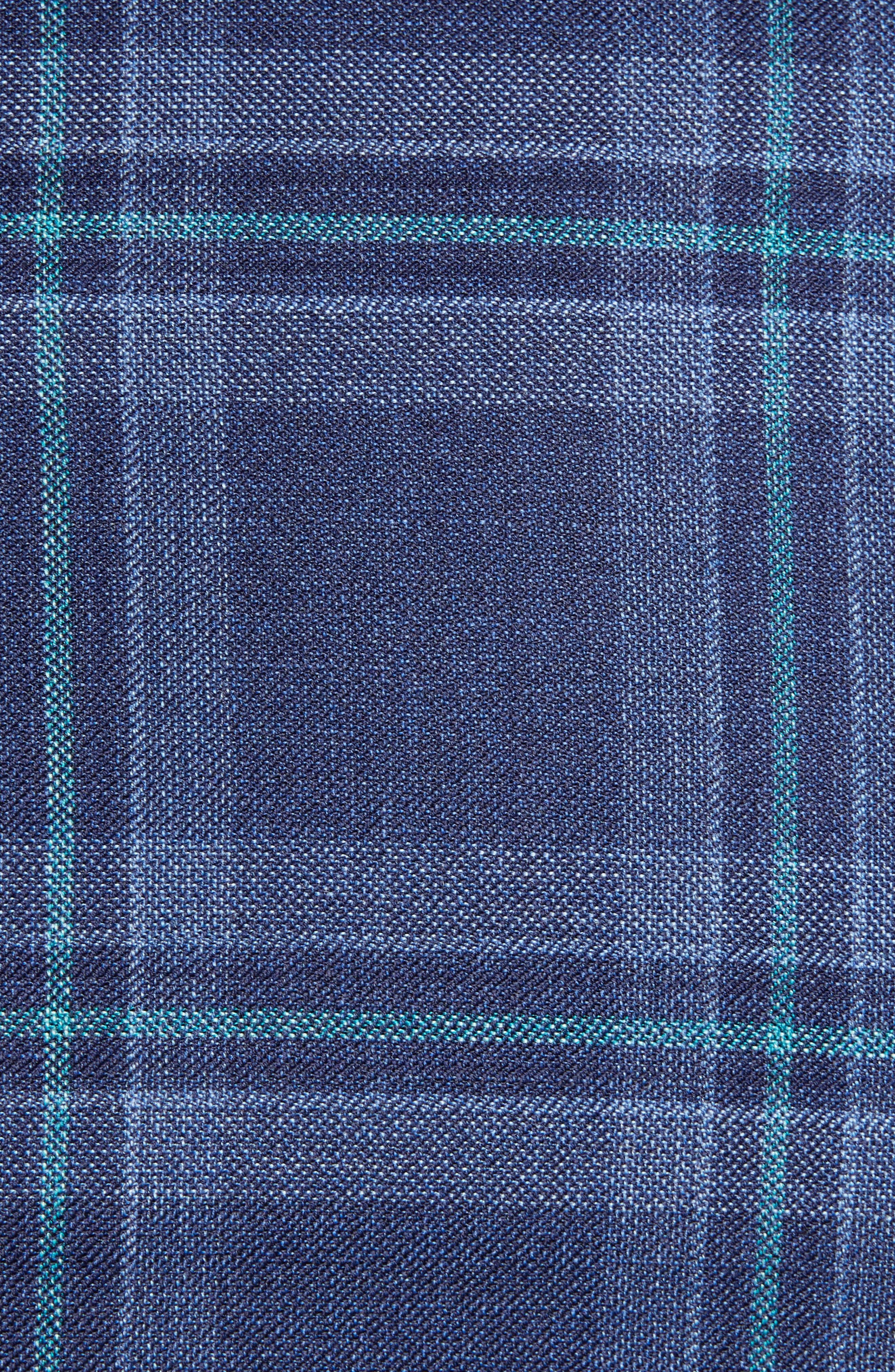 Classic B Fit Plaid Wool Sport Coat,                             Alternate thumbnail 6, color,                             BLUE