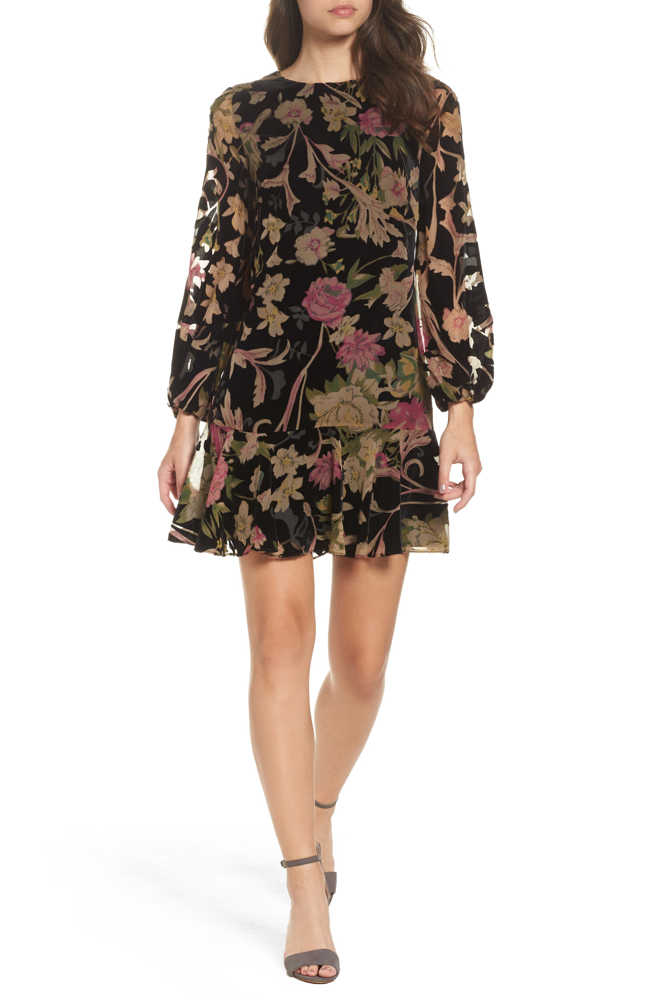 Floral Print Velvet Shift Dress,                             Main thumbnail 1, color,                             BLACK
