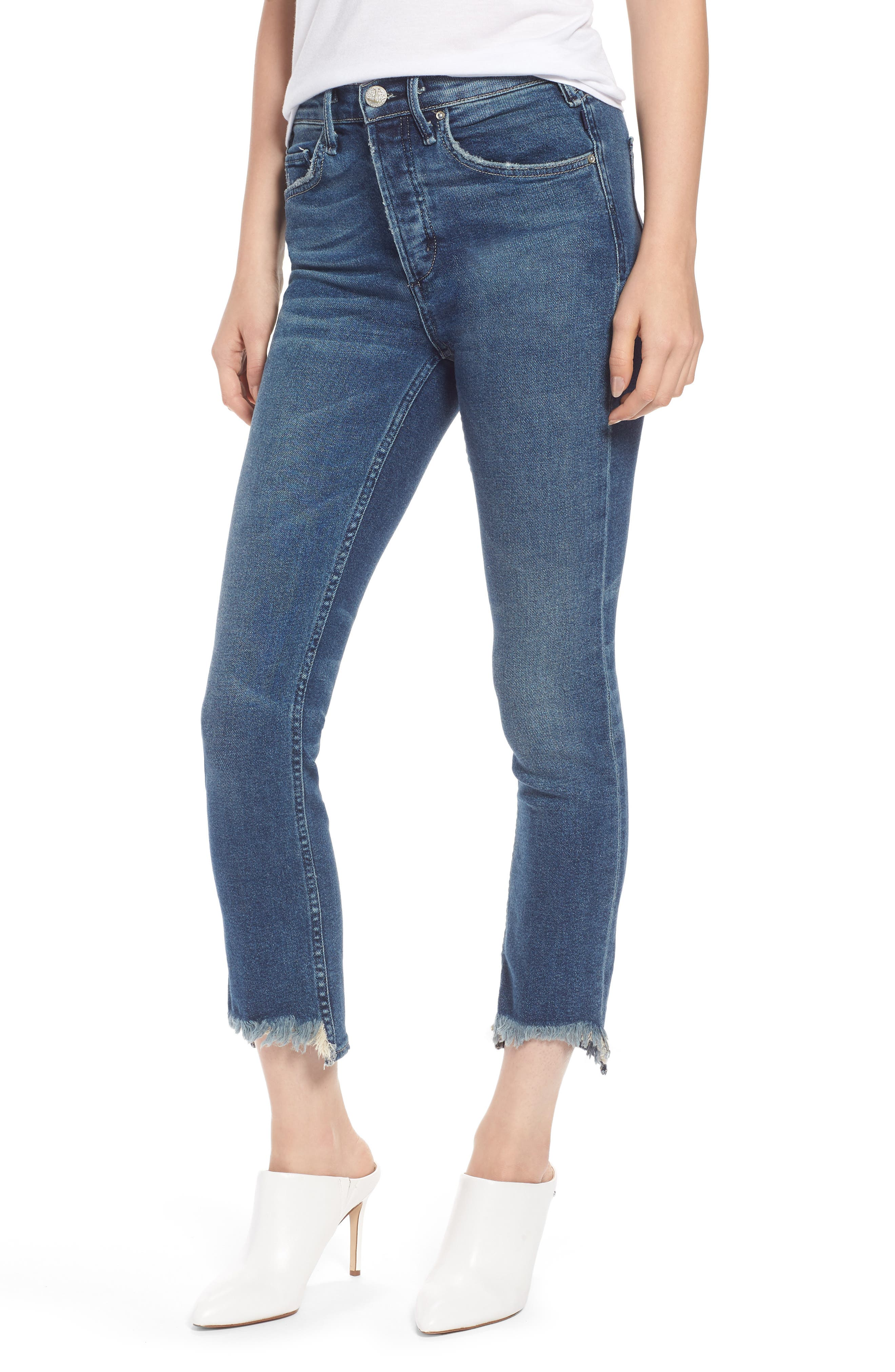 Valetta High Waist Crop Straight Leg Jeans,                             Main thumbnail 1, color,                             WAY UP NORTH