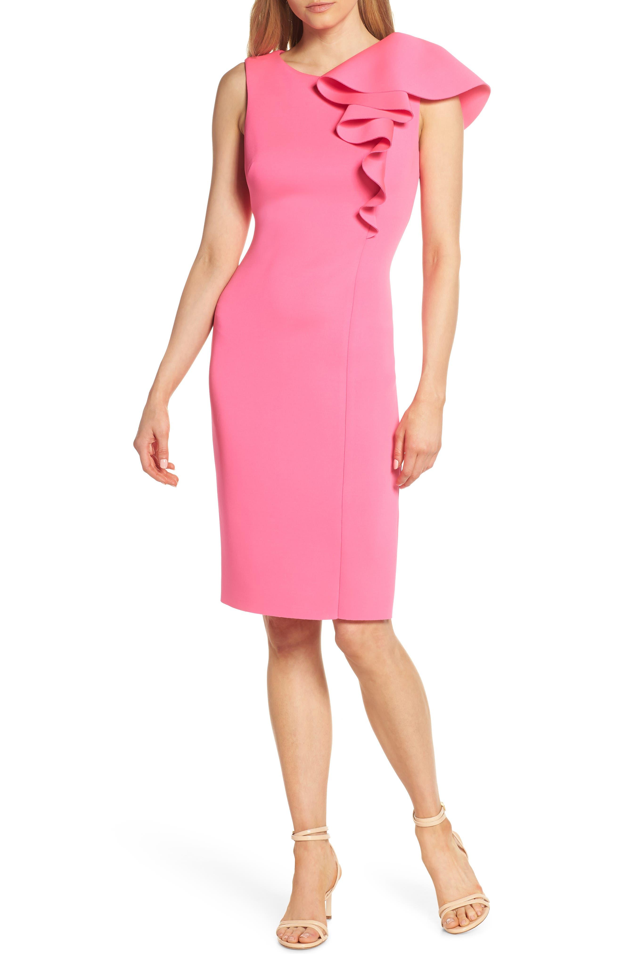 Eliza J Ruffle Scuba Sheath Dress, Pink