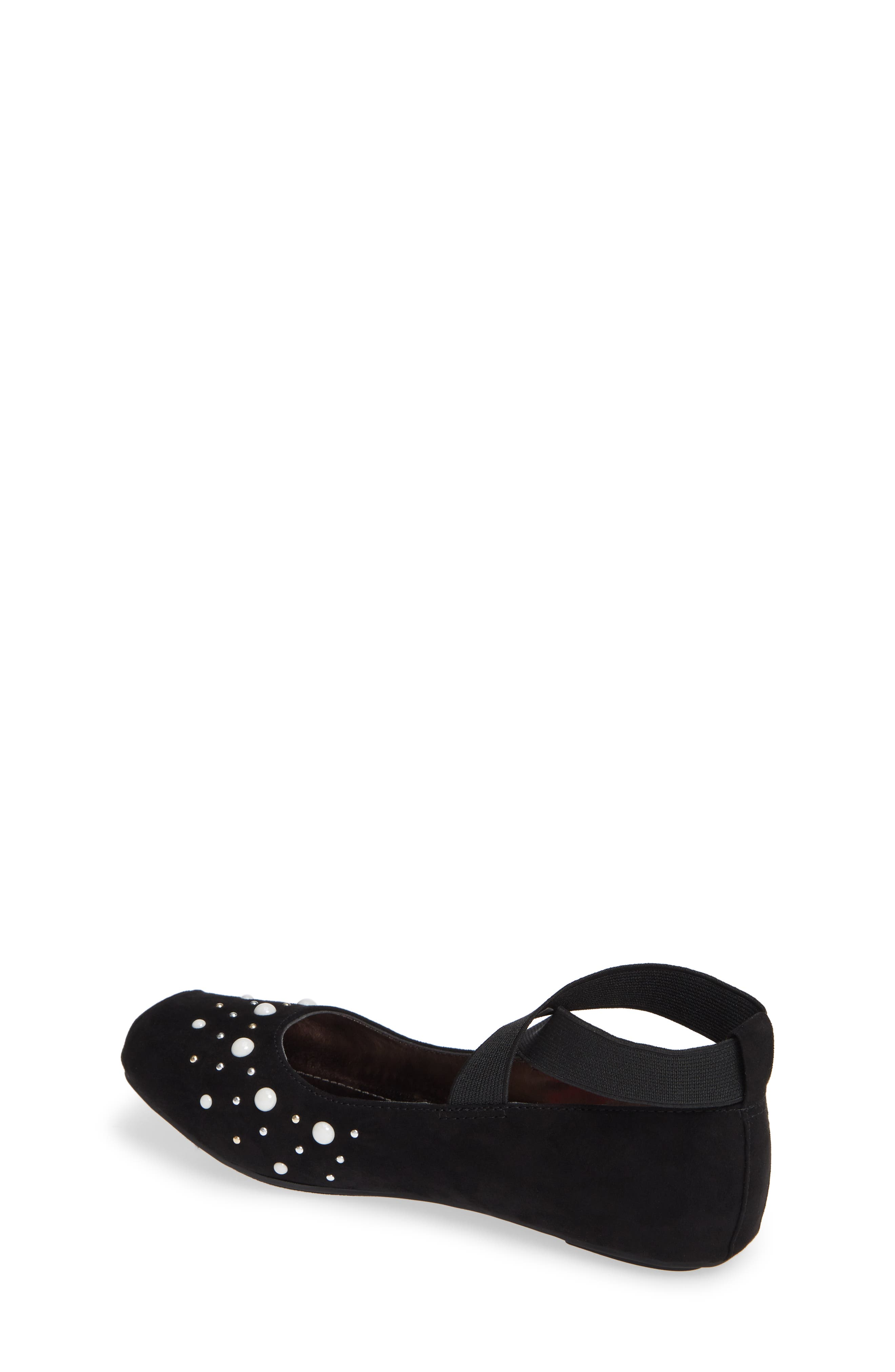 Cross Strap Ballet Flat,                             Alternate thumbnail 2, color,                             BLACK MICRO SUEDE W/ PEARLS