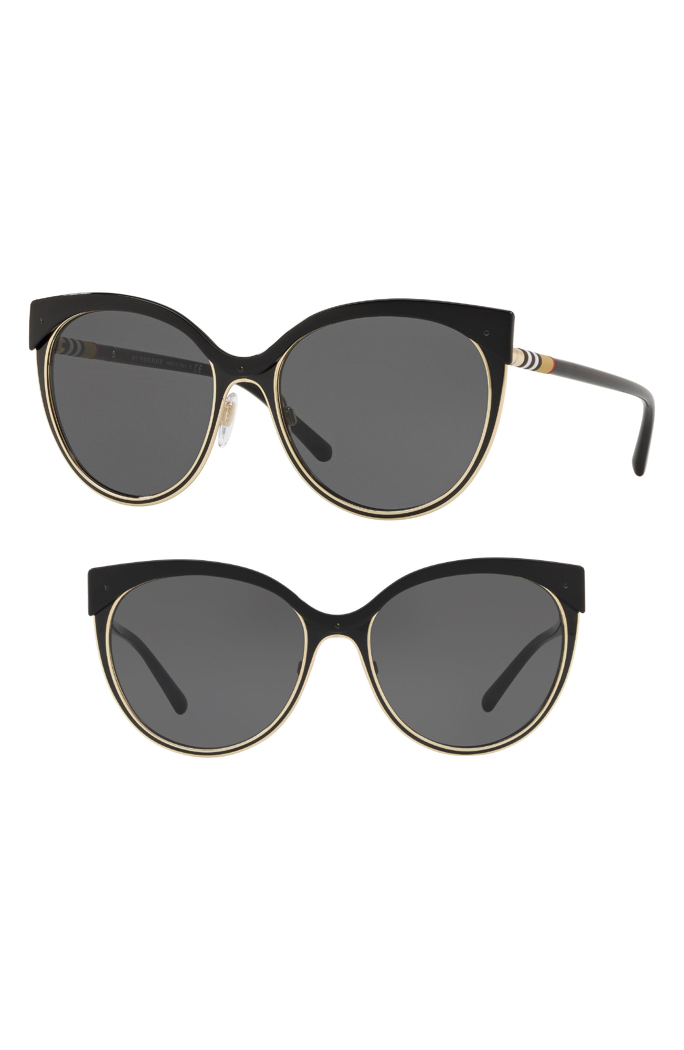 80a1bcc4e2f Burberry Heritage 55Mm Cat Eye Sunglasses - Gold  Black Solid In Gray Black
