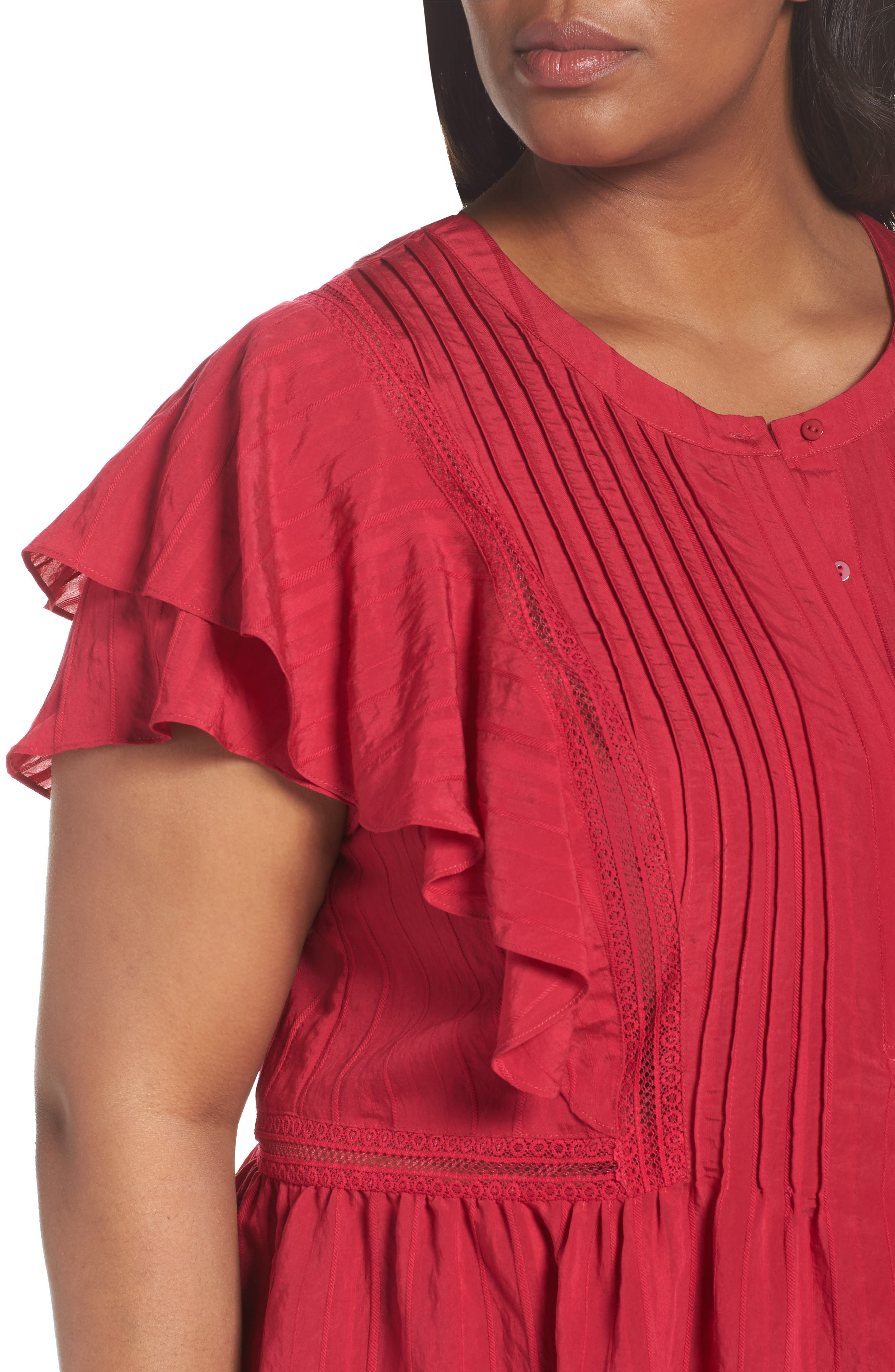 Lace Trim Pintuck Pleated Top,                             Alternate thumbnail 11, color,