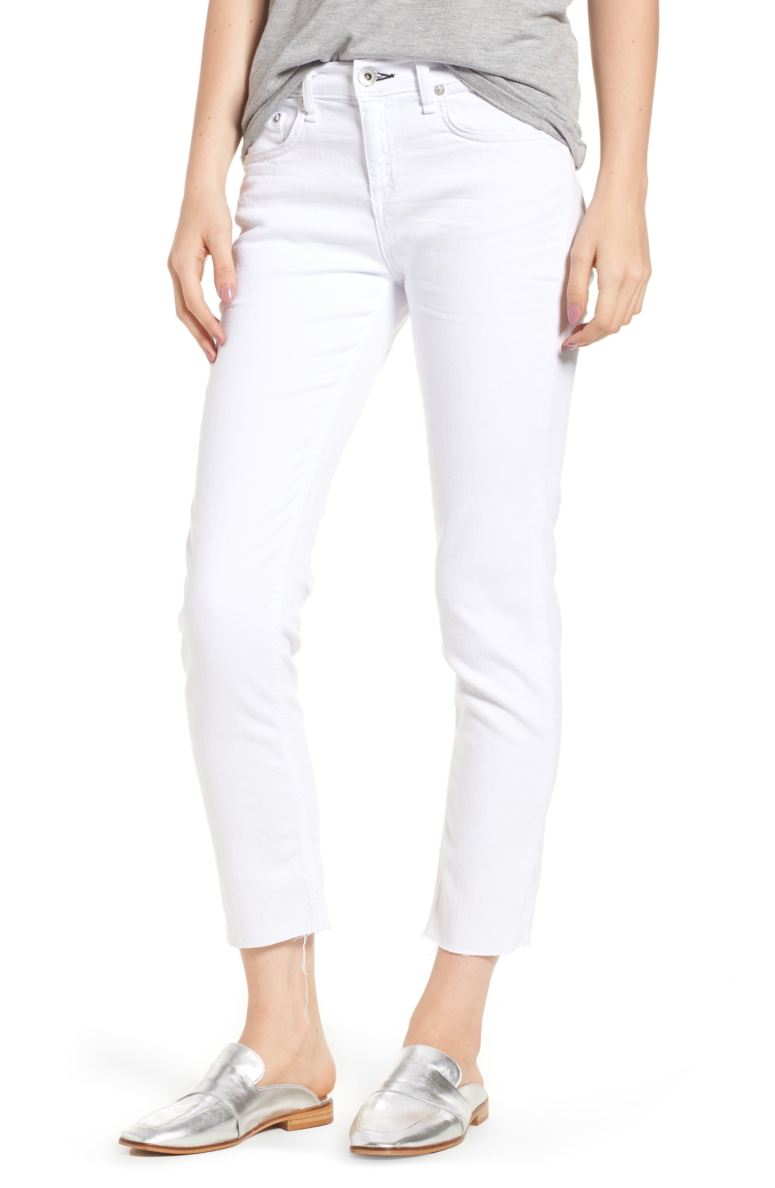 The Dre Ankle Slim Boyfriend Jeans,                             Main thumbnail 1, color,                             WHITE