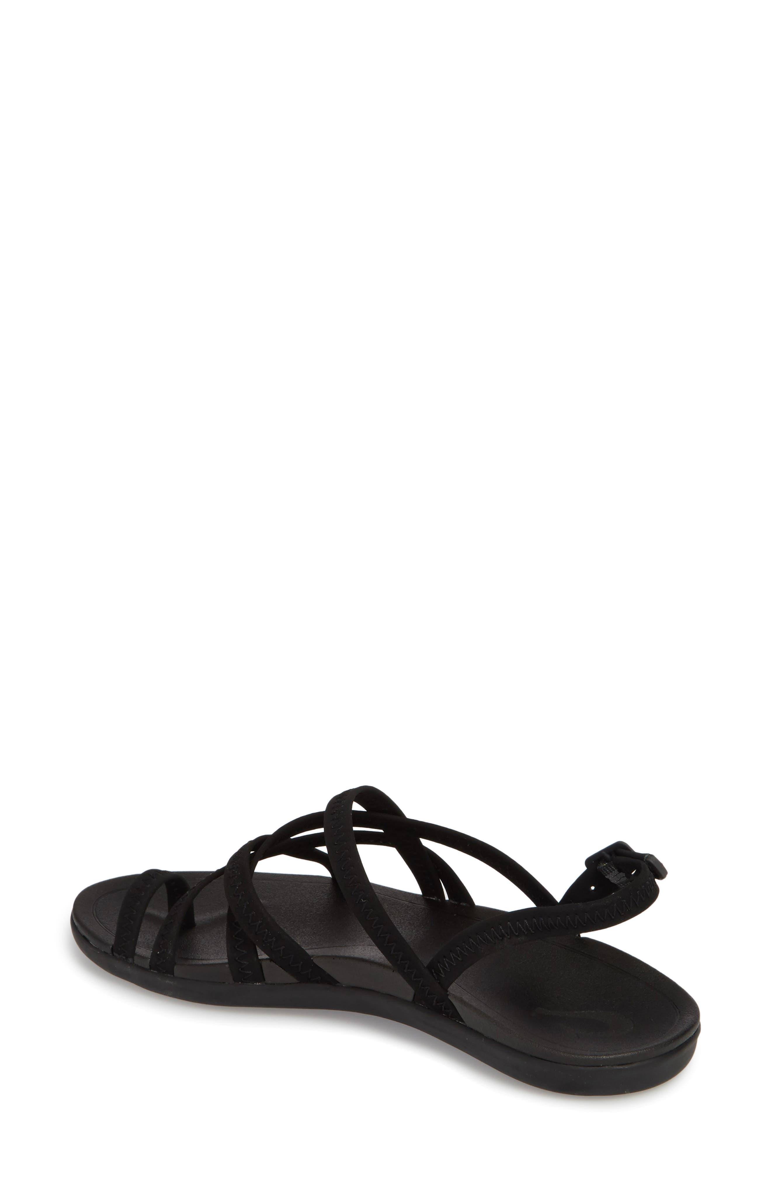 Kalapu Sandal,                             Alternate thumbnail 2, color,                             BLACK/ BLACK FAUX LEATHER