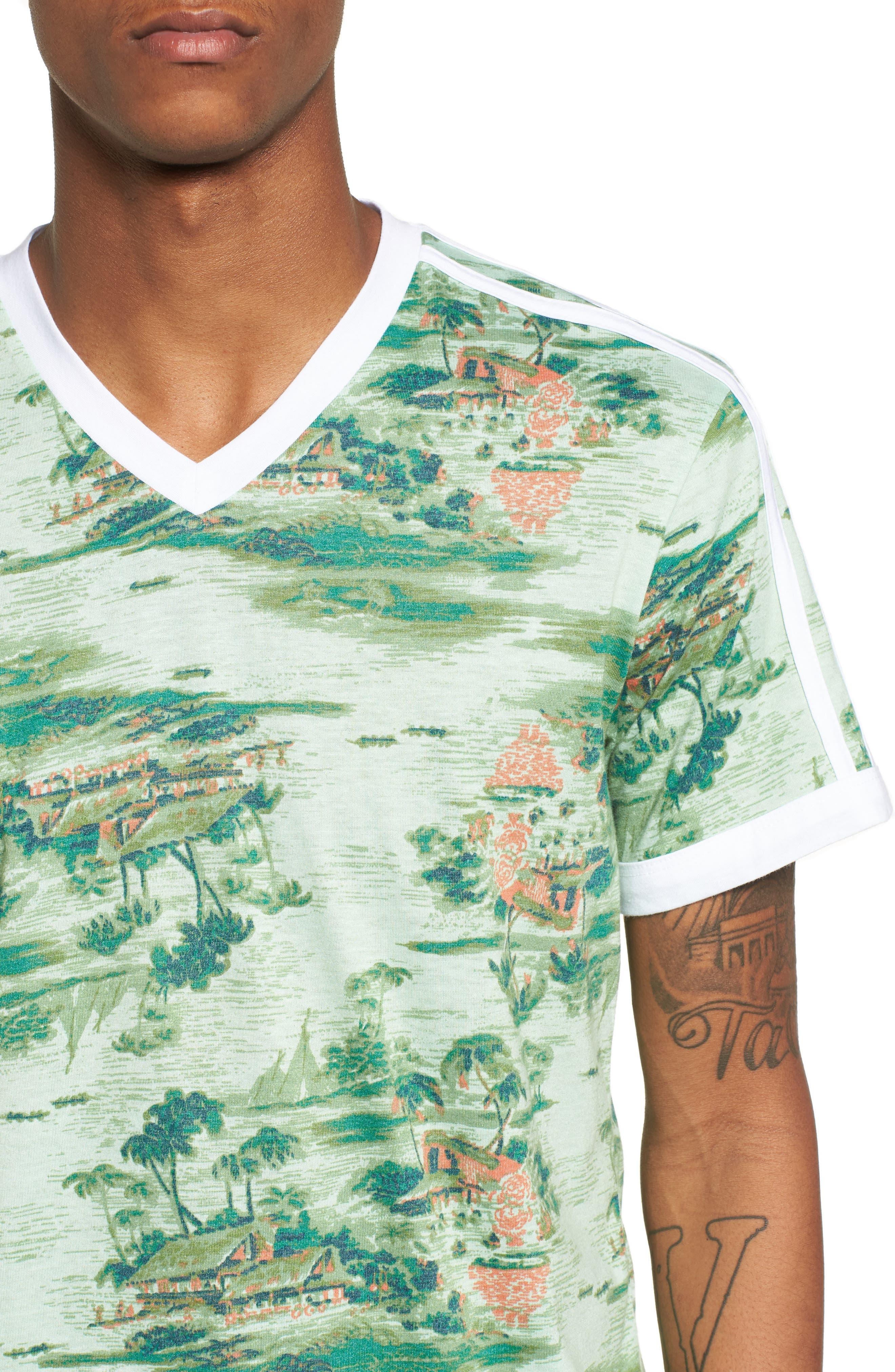 Print V-Neck T-Shirt,                             Alternate thumbnail 4, color,                             310