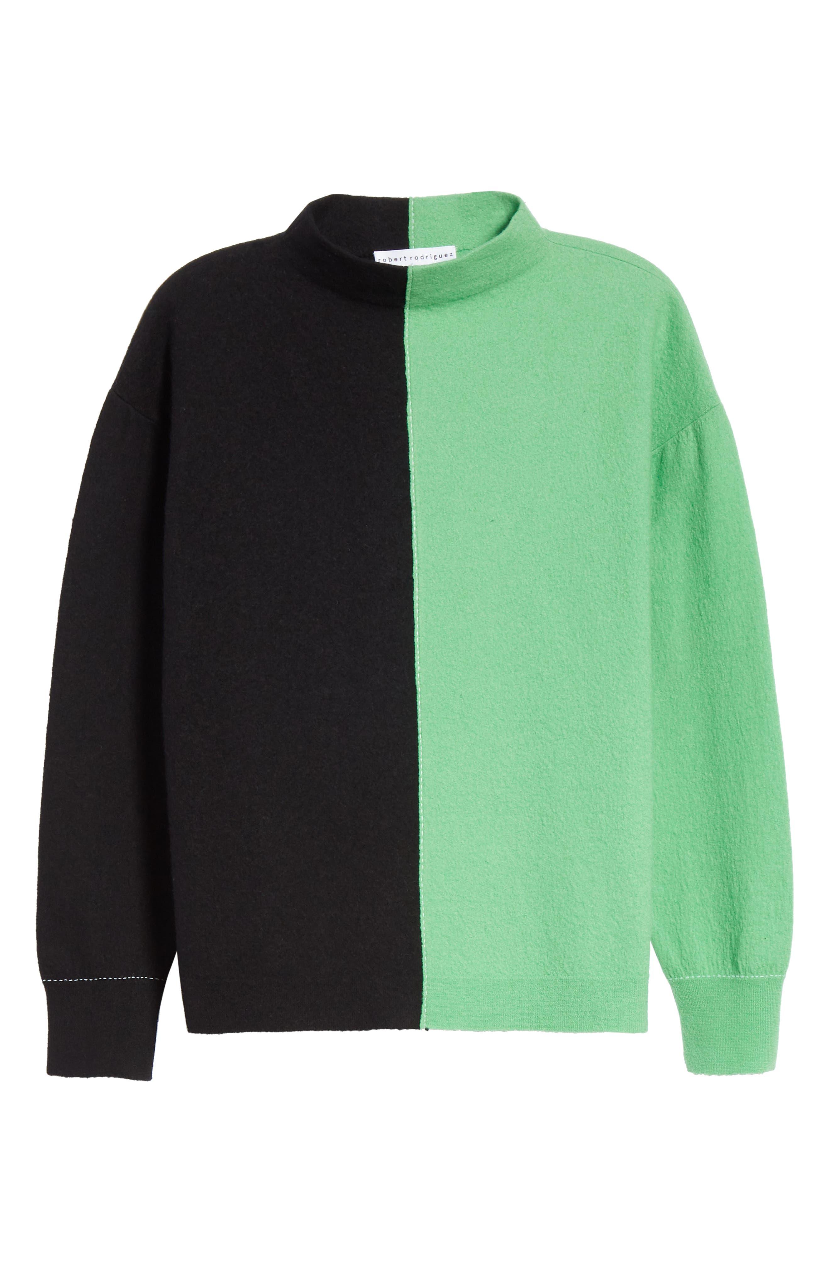 Bicolor Boiled Wool Sweater,                             Alternate thumbnail 6, color,                             BLACK/ GREEN