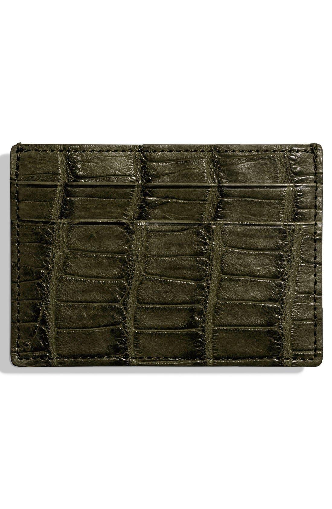 Alligator Leather Card Case,                             Alternate thumbnail 6, color,