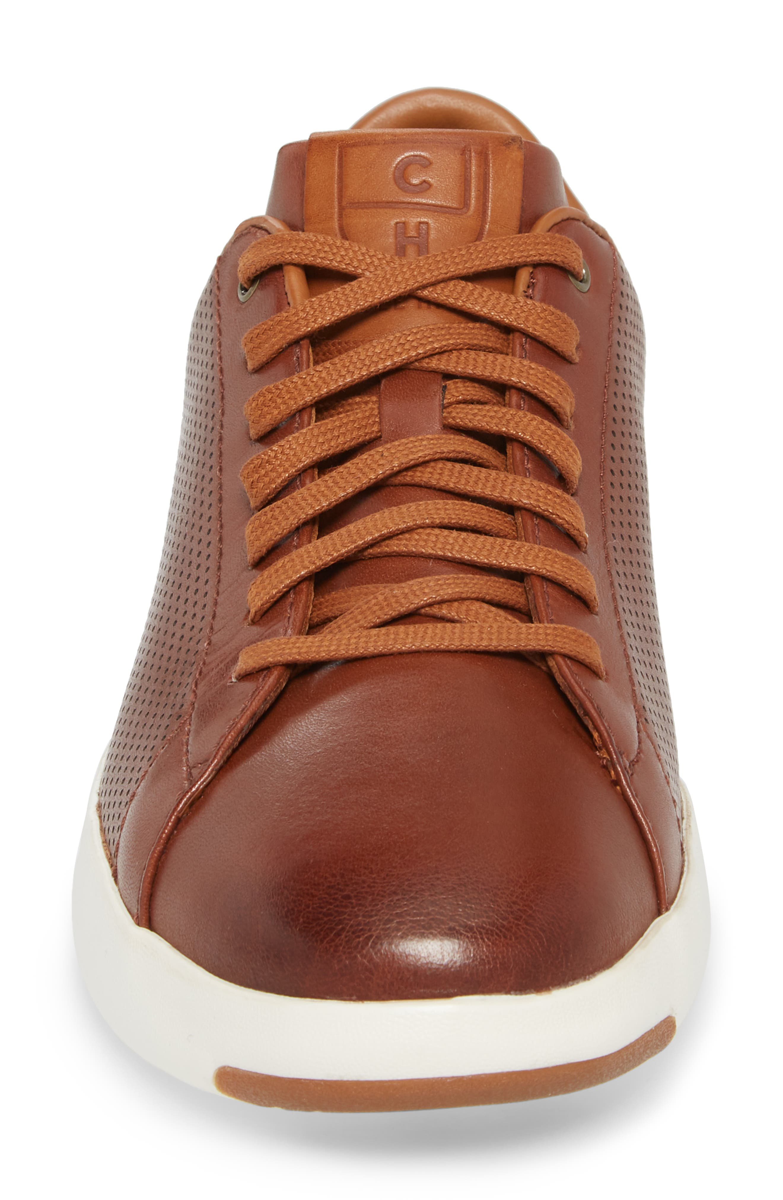 GrandPrø Perforated Low Top Sneaker,                             Alternate thumbnail 4, color,                             WOODBURY LEATHER