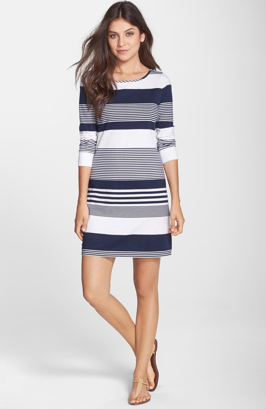 Marlowe Stripe Pima Cotton Shift Dress,                             Alternate thumbnail 2, color,                             408