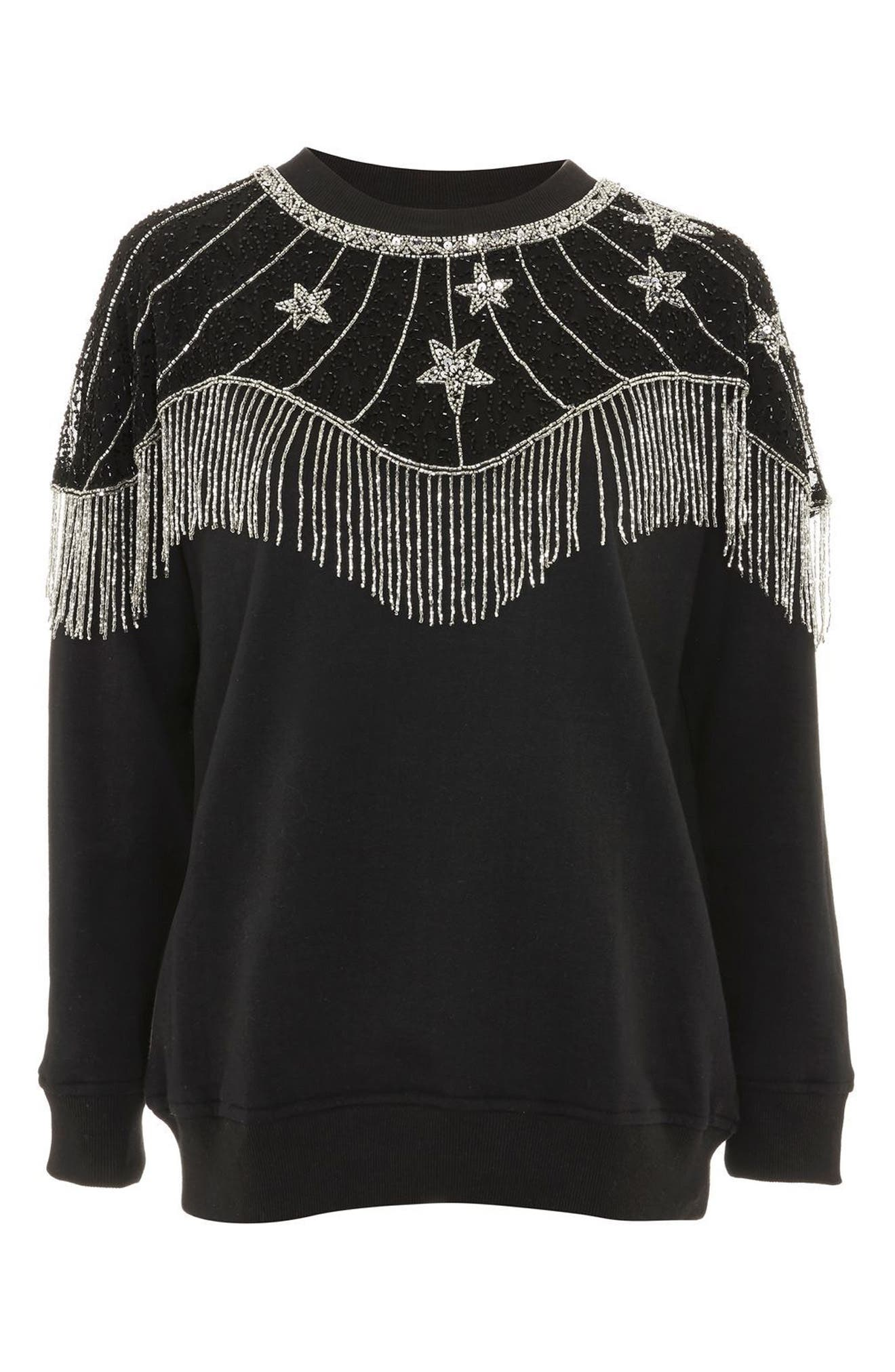 Star Cape Embellished Sweatshirt,                             Alternate thumbnail 4, color,                             001