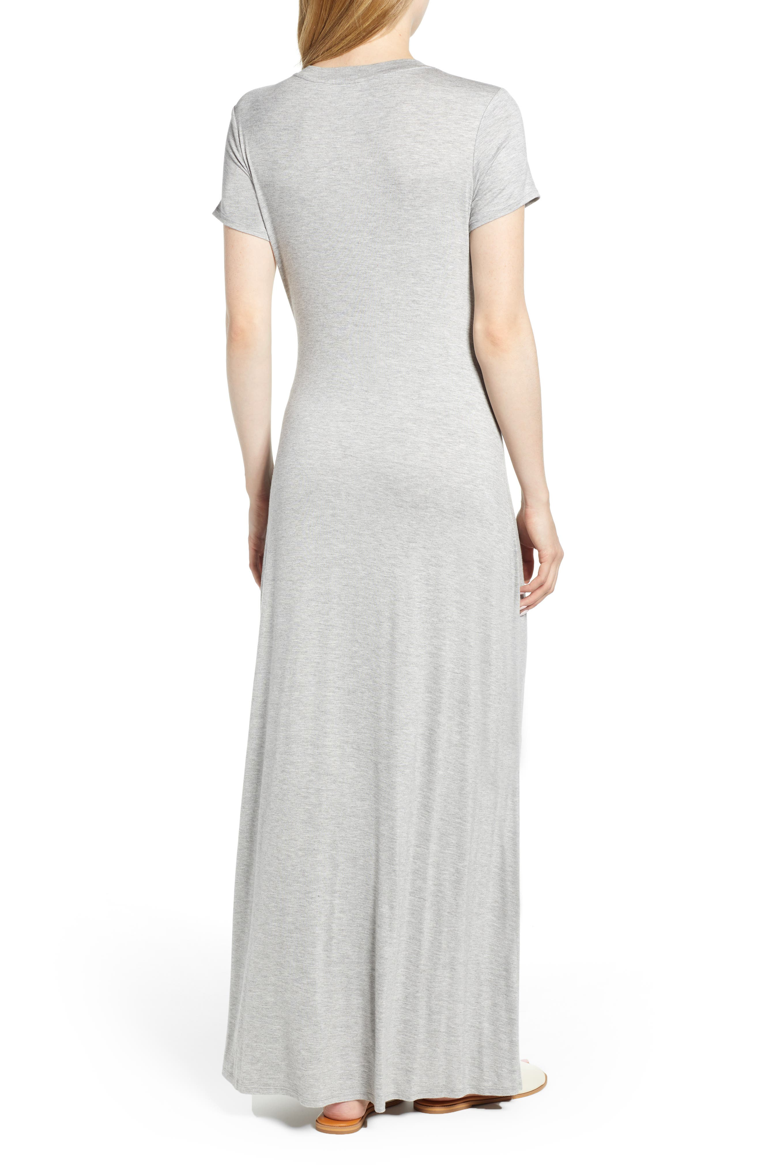 CASLON<SUP>®</SUP>,                             Front Gathered Maxi Dress,                             Alternate thumbnail 2, color,                             GREY HEATHER