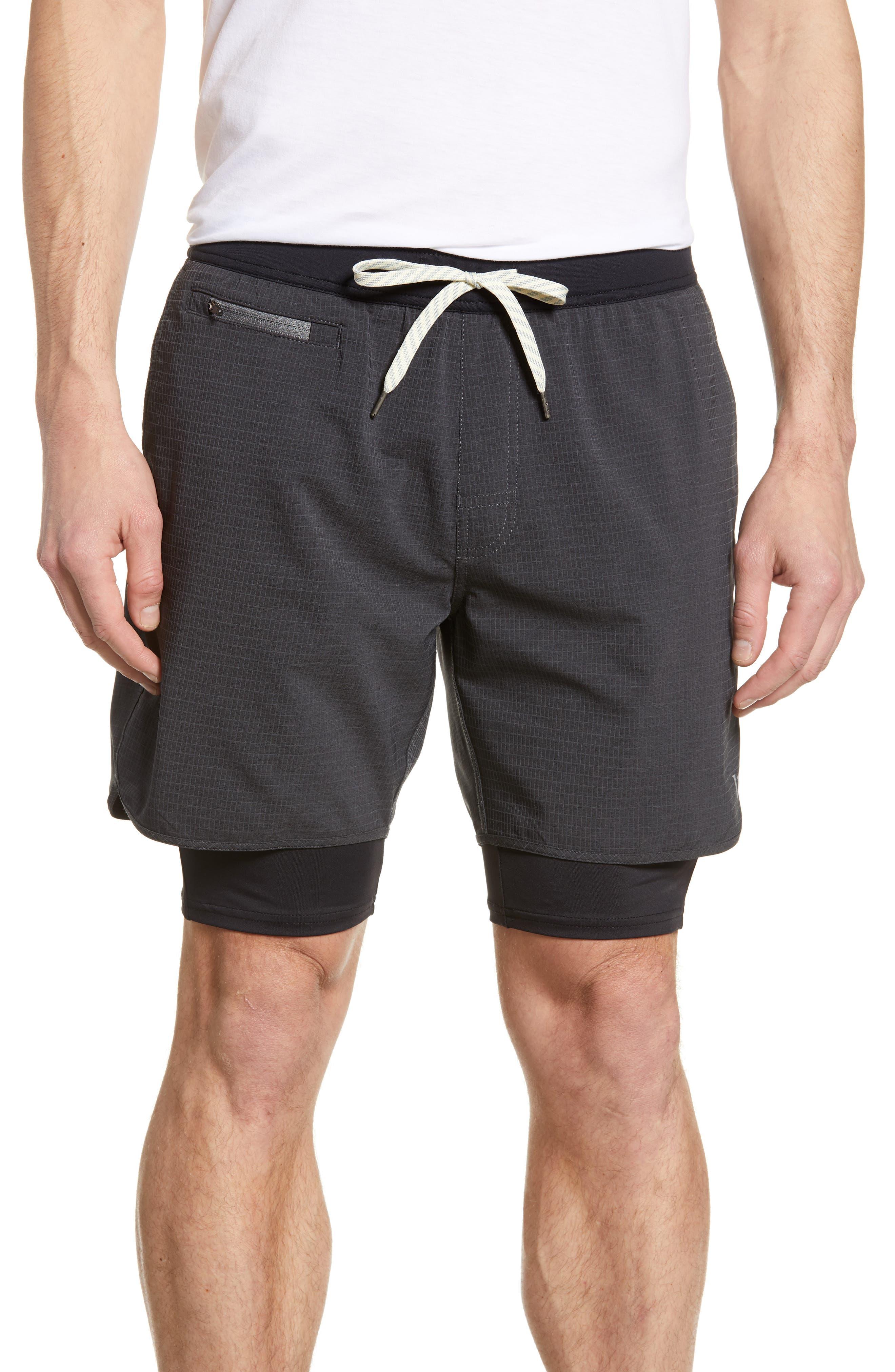 Vuori Stockton Layered Compression Performance Shorts, Black