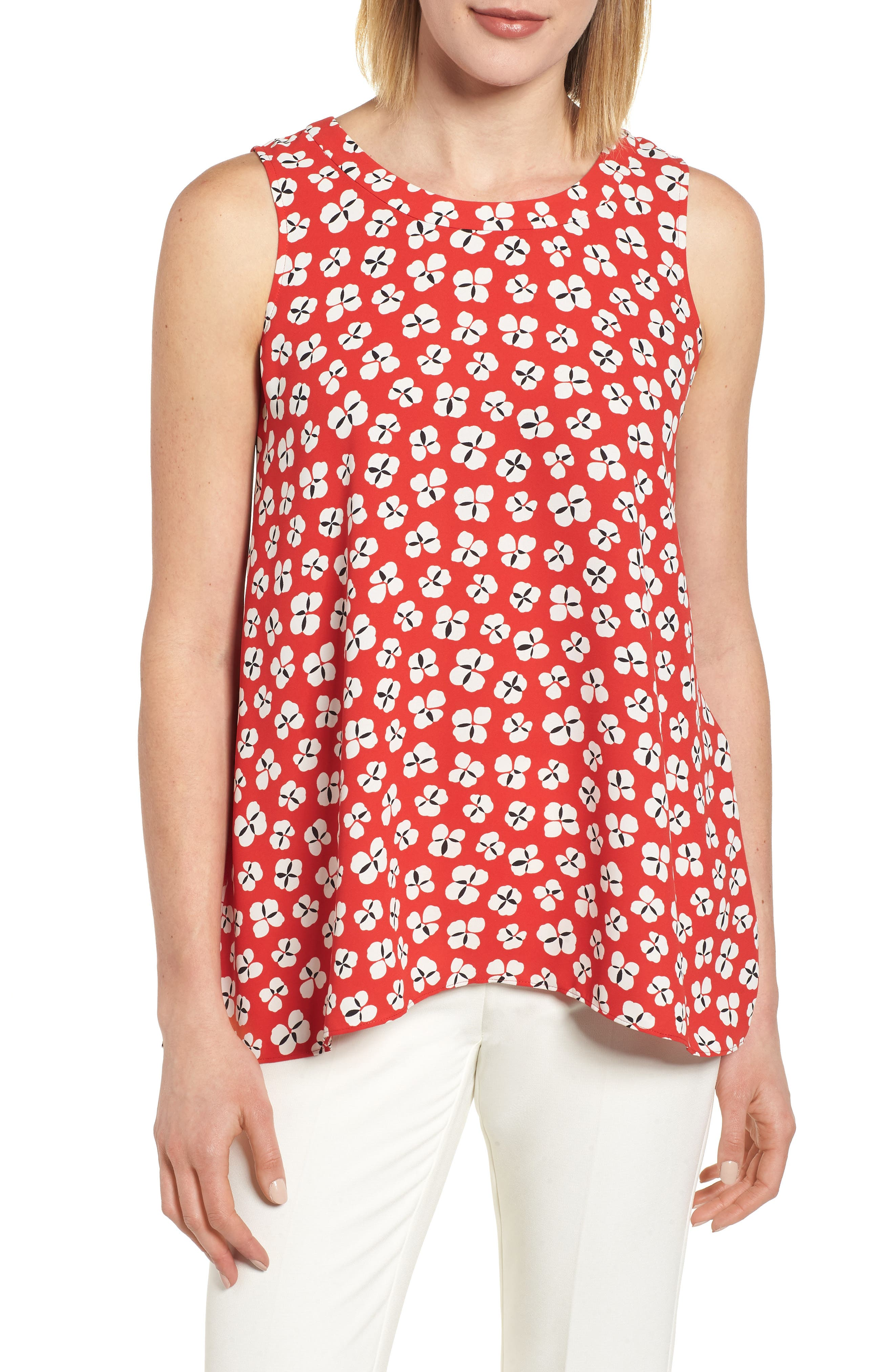 Floral High/Low Swing Top,                             Main thumbnail 1, color,