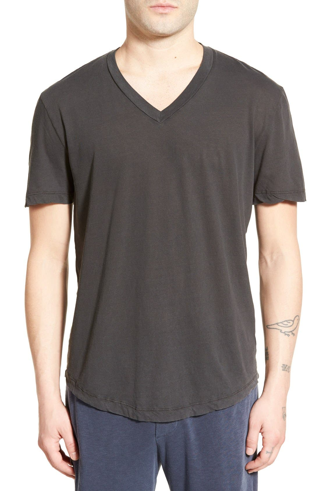 'Clear Jersey' Mélange V-Neck T-Shirt,                             Main thumbnail 4, color,