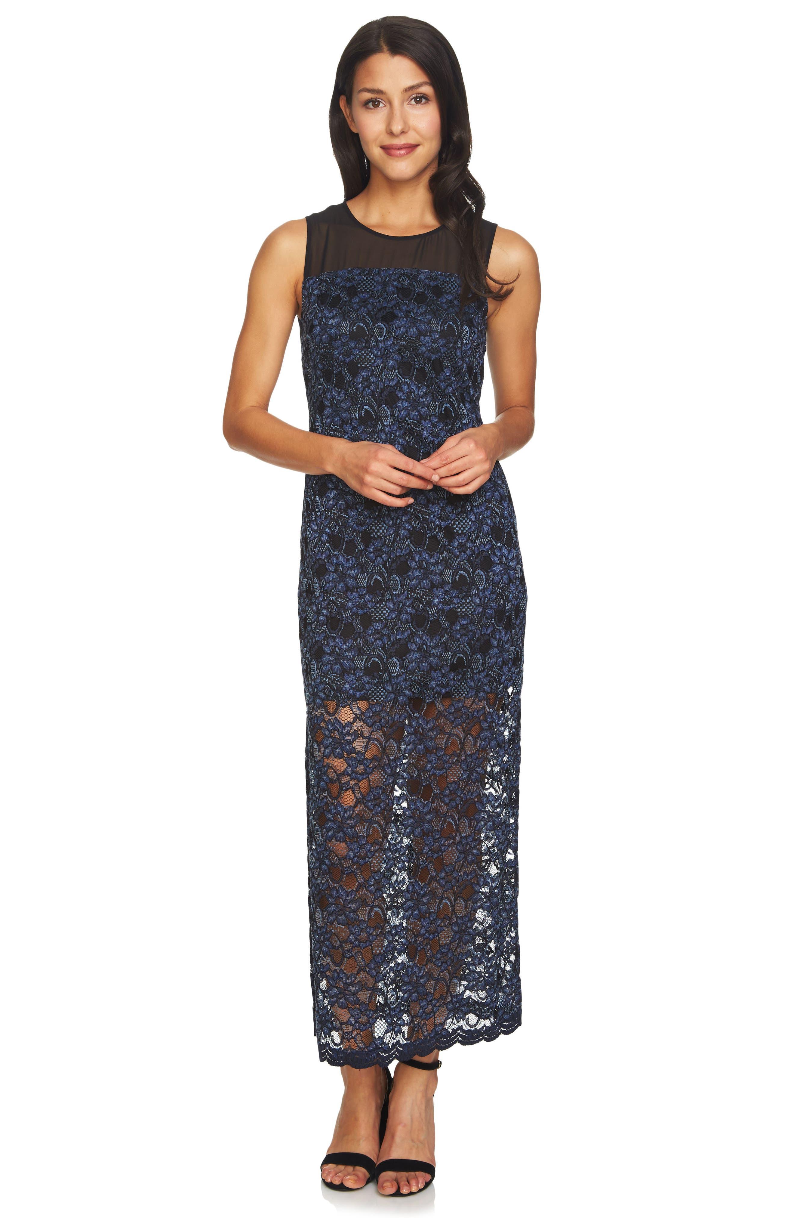 Mary Lace Maxi Dress,                             Alternate thumbnail 3, color,                             001