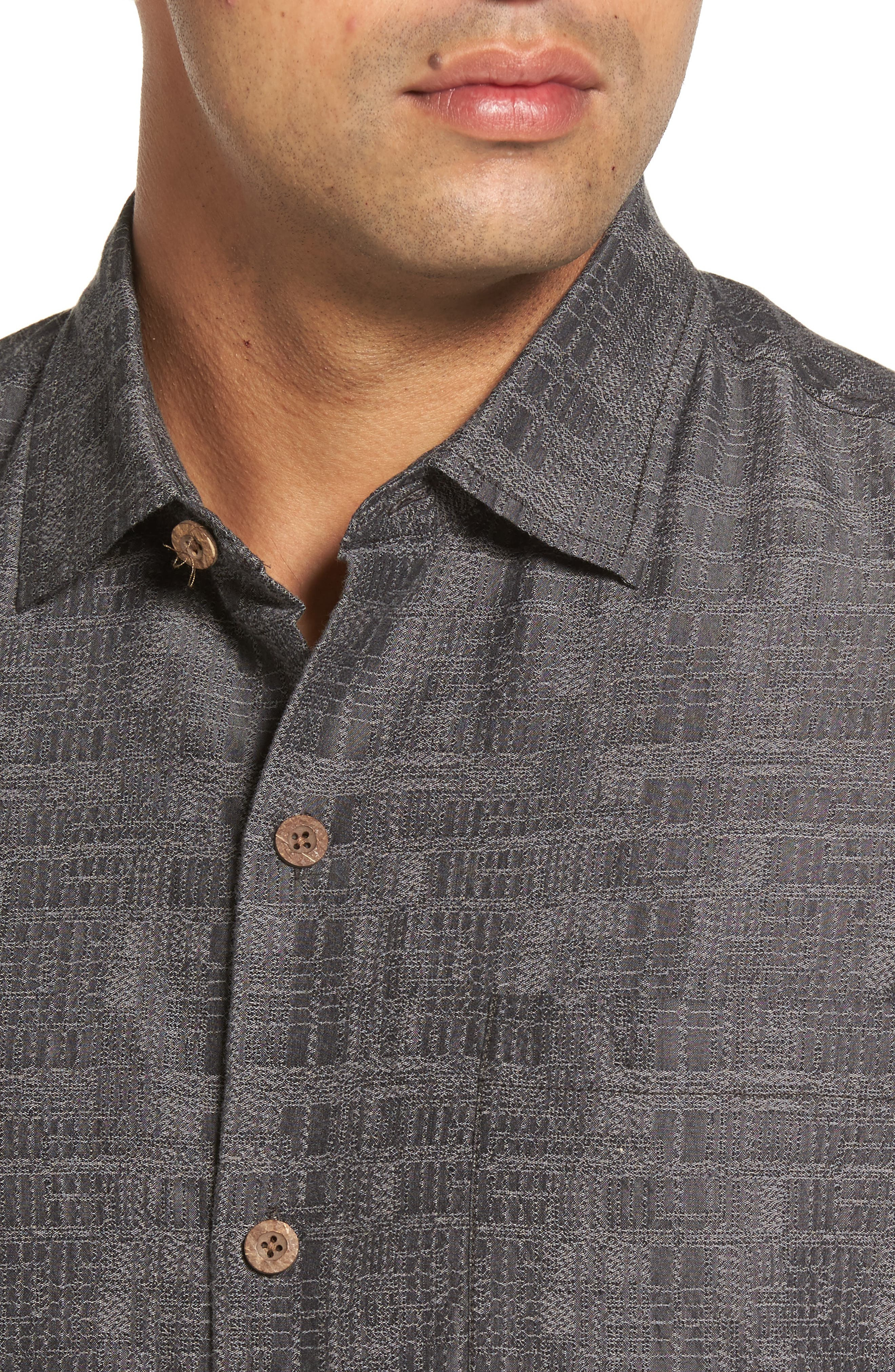 Getaway Grid Silk Blend Camp Shirt,                             Alternate thumbnail 4, color,                             001