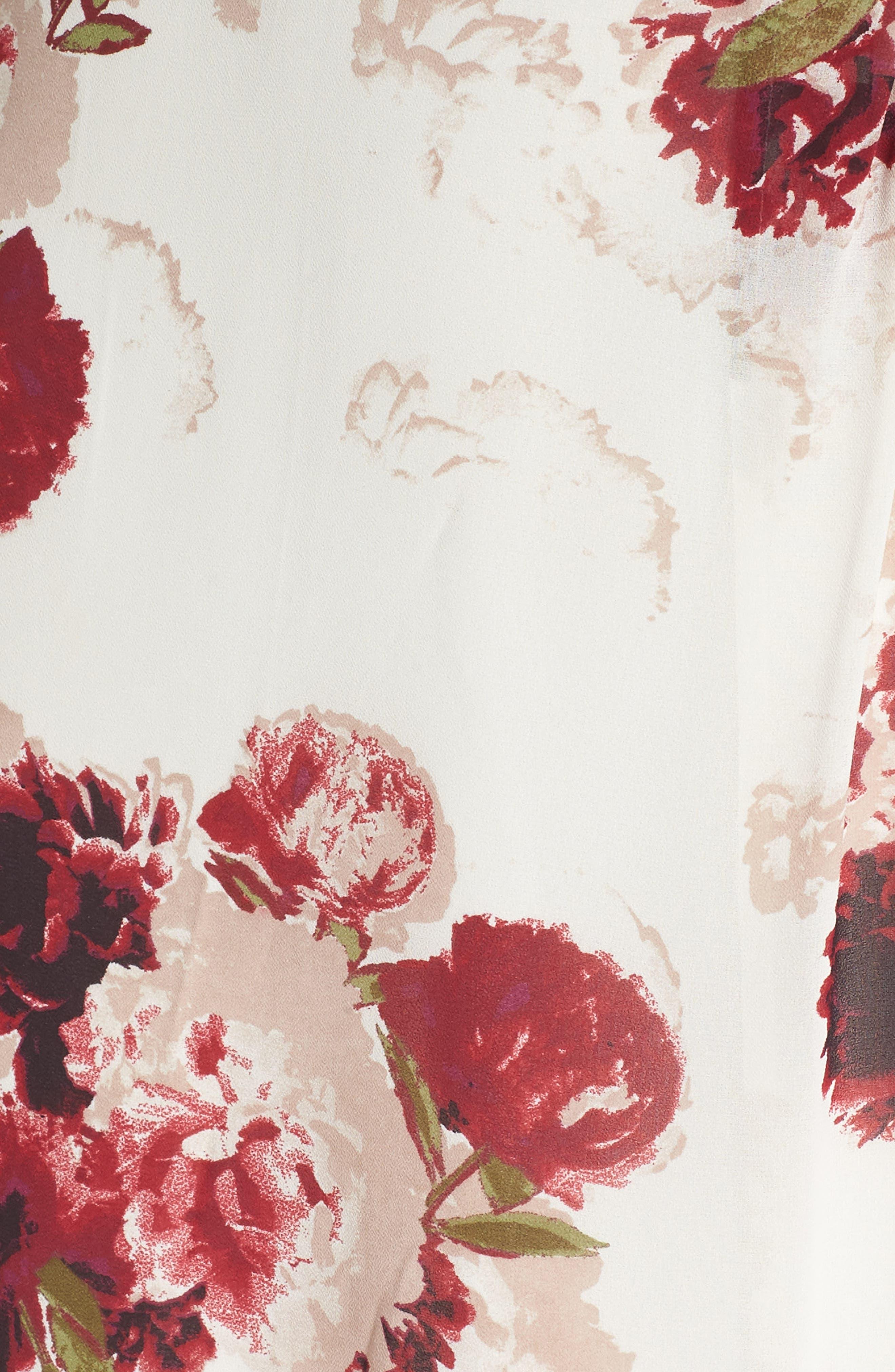 Floral Drape Dress,                             Alternate thumbnail 6, color,                             900