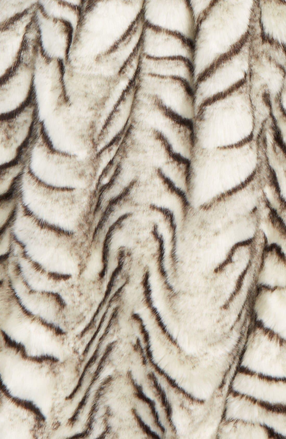 Drop Waist FauxFur Coat,                             Alternate thumbnail 2, color,                             001