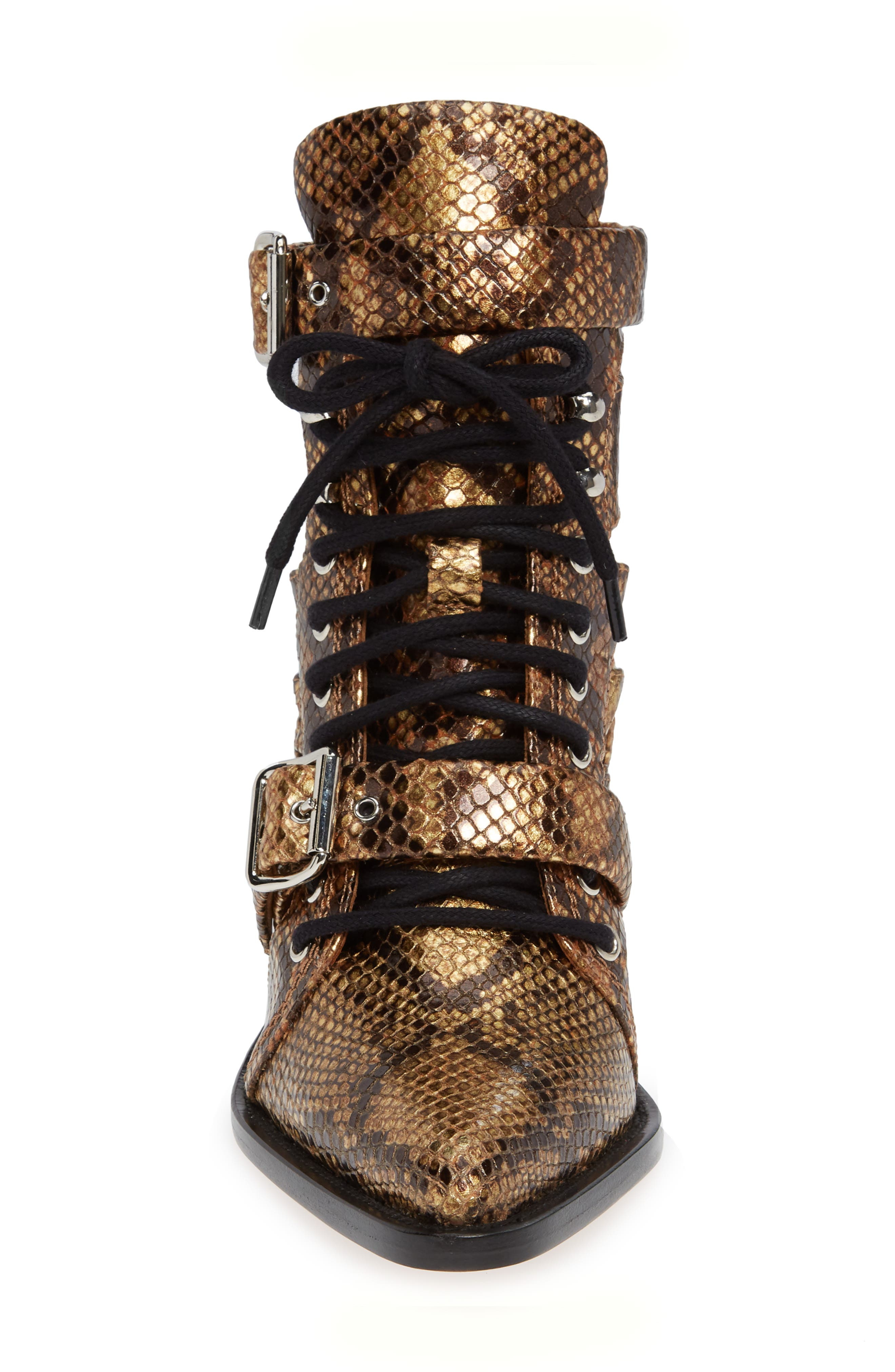 CHLOÉ,                             Rylee Pointy Toe Cage Boot,                             Alternate thumbnail 4, color,                             HARVEST GOLD LEATHER