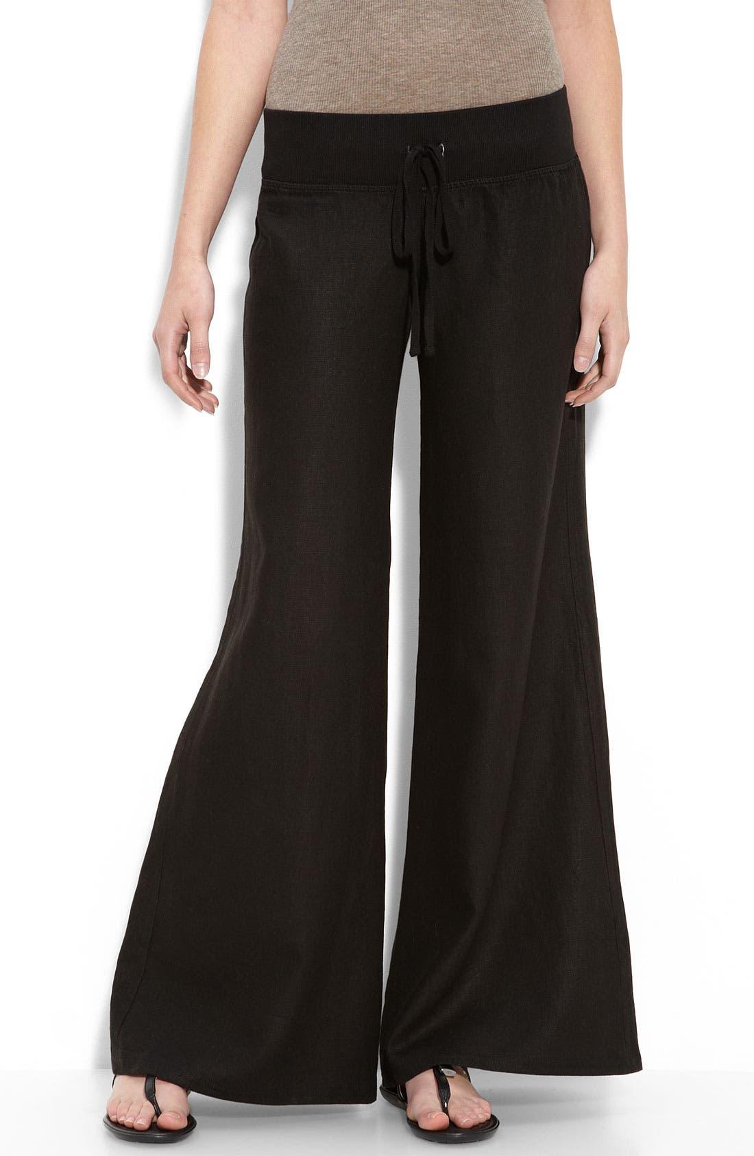 KRISA Wide Leg Linen Pants, Main, color, 001