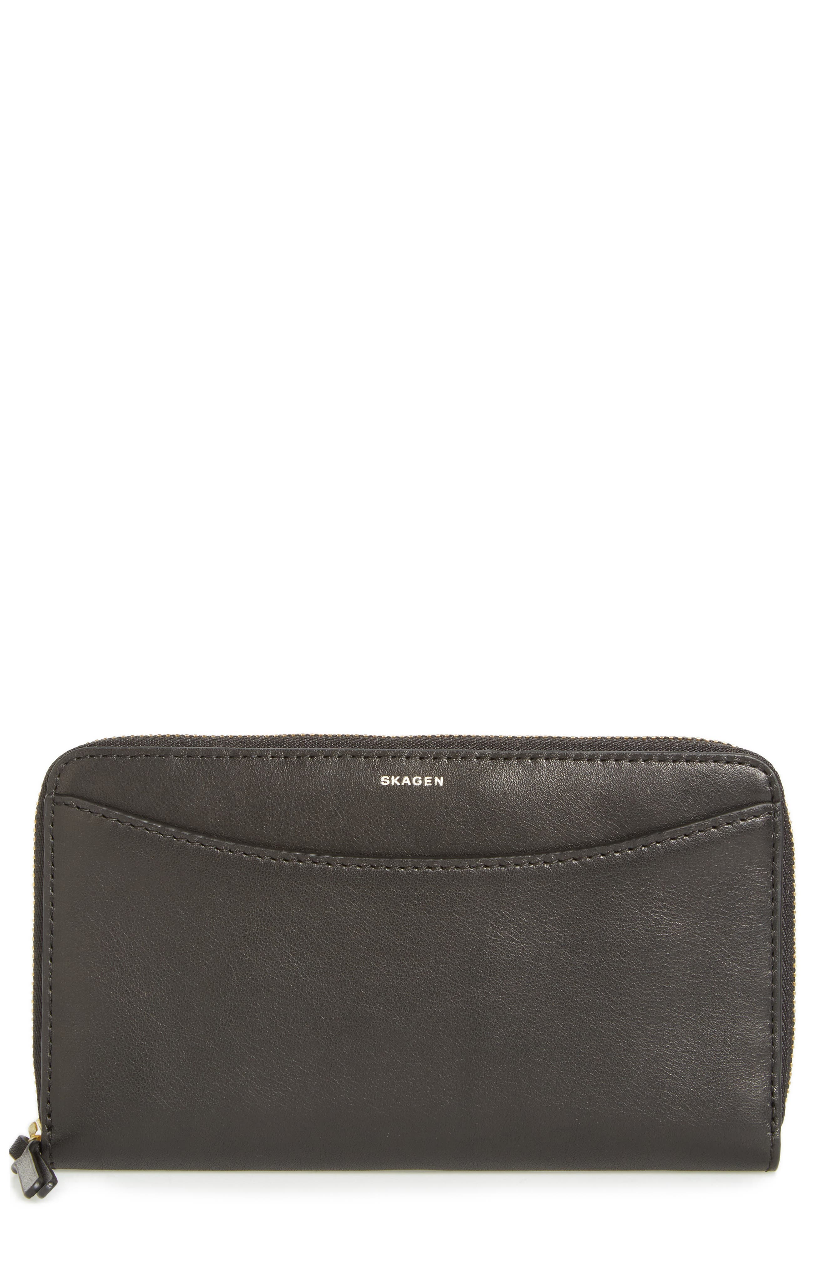 Leather Continental Wallet,                         Main,                         color, 001