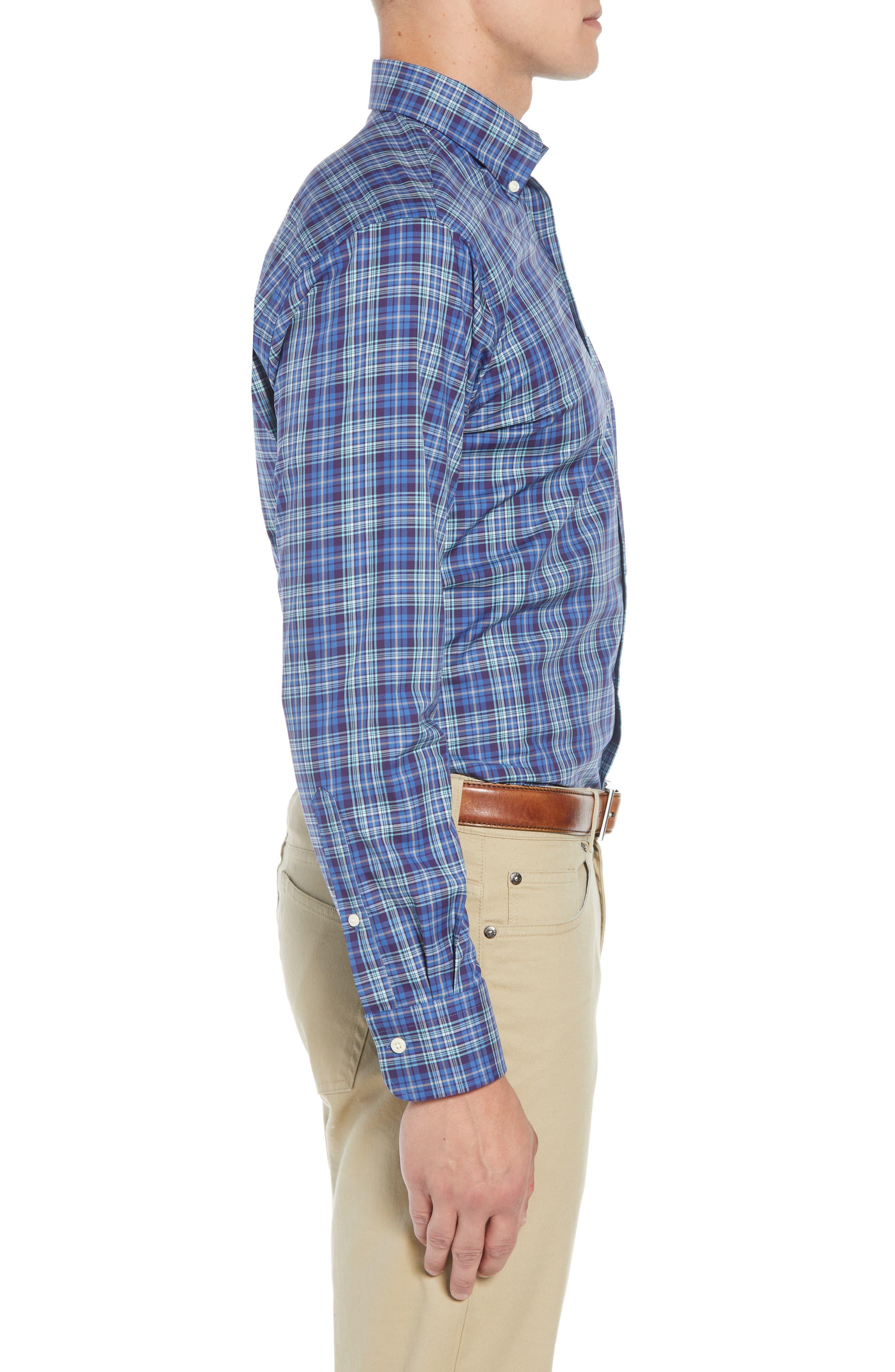 Crown Ease Flatey Island Regular Fit Tartan Plaid Sport Shirt,                             Alternate thumbnail 4, color,                             BLUE