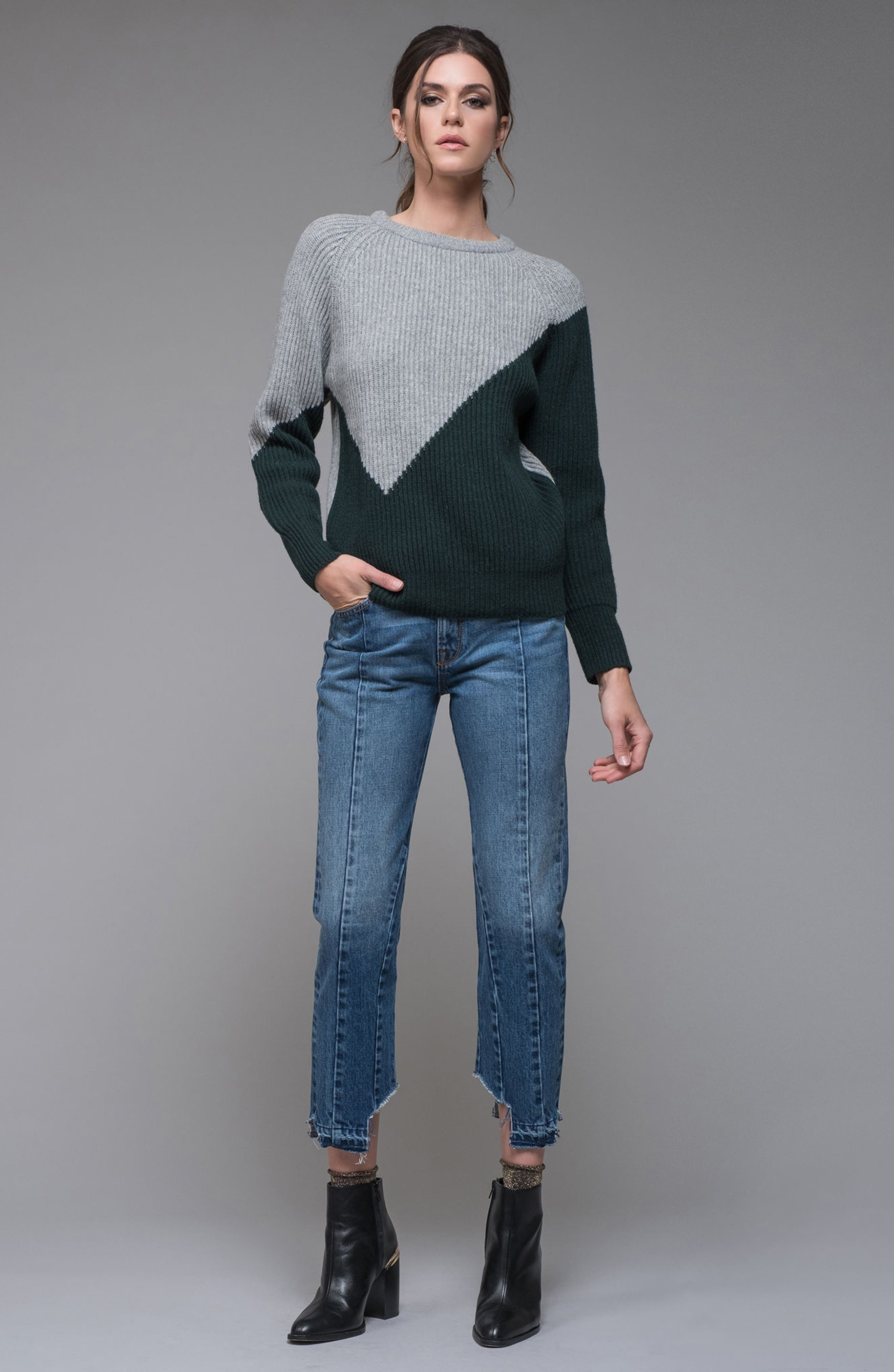 Unbalanced Pattern Wool Blend Sweater,                             Alternate thumbnail 7, color,                             313