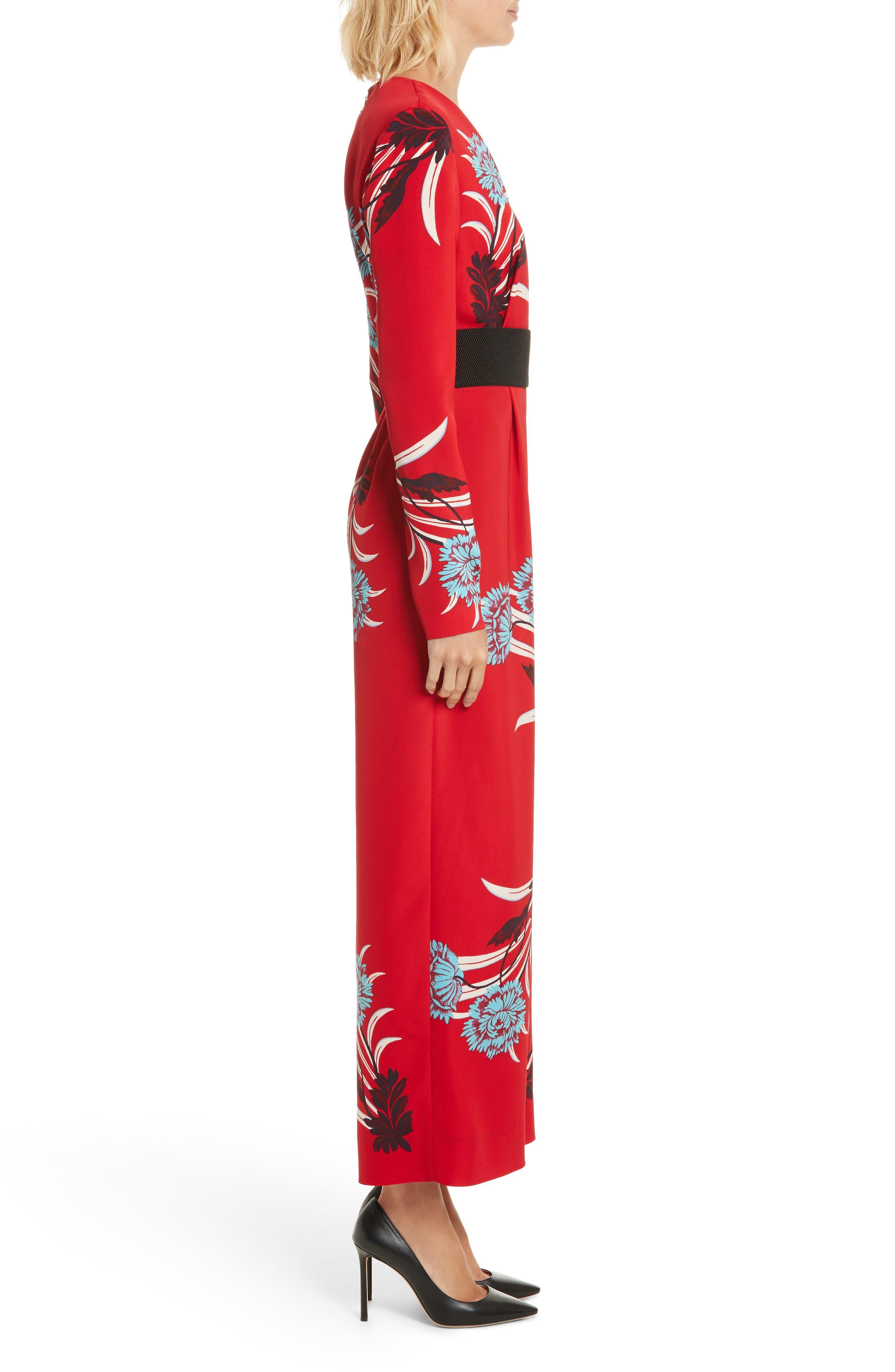 DIANE VON FURSTENBERG,                             Floral Print Crossover Jumpsuit,                             Alternate thumbnail 3, color,                             648