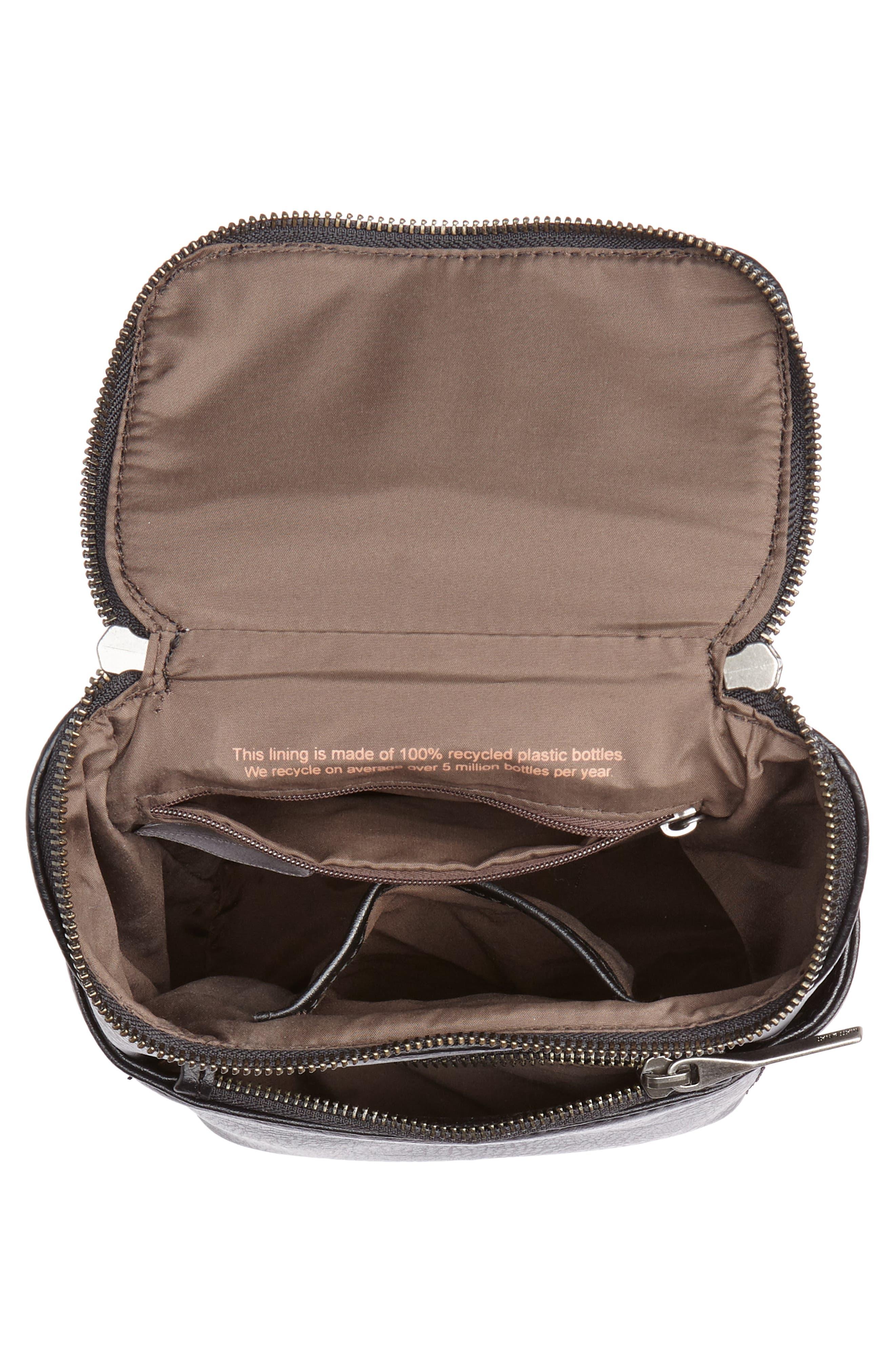 Mini Brave Faux Leather Backpack,                             Alternate thumbnail 4, color,                             BLACK