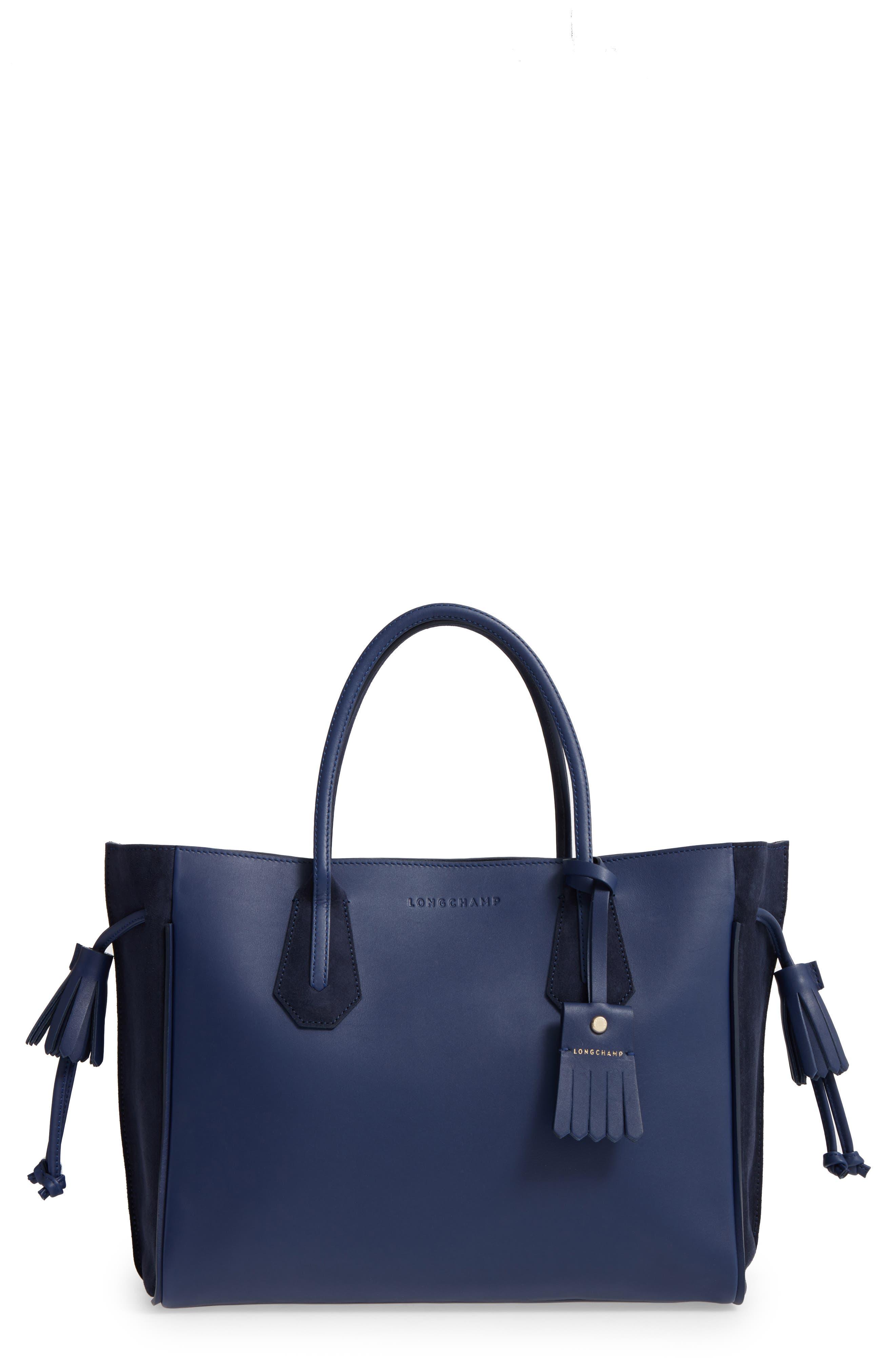 'Medium Penelope Fantasie' Leather Tote,                         Main,                         color, BLUE