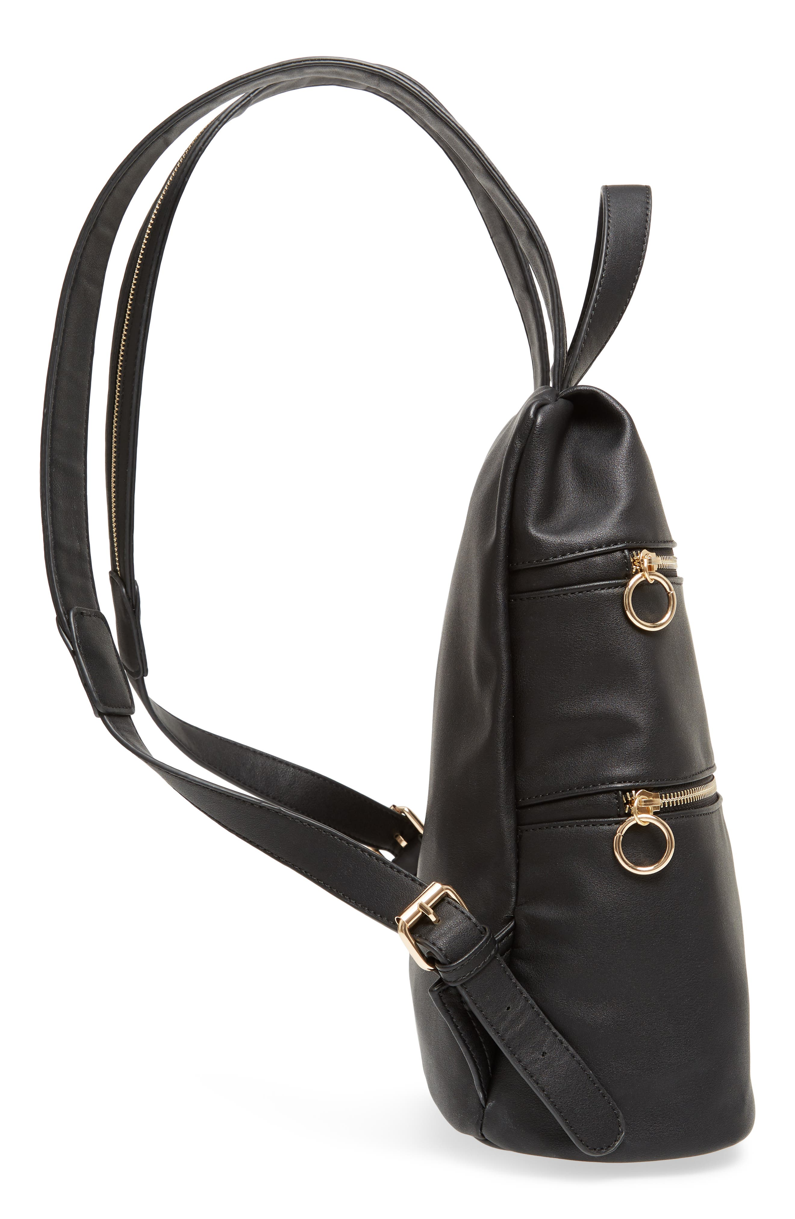 Double Zip O Ring Faux Leather Backpack,                             Alternate thumbnail 5, color,                             001