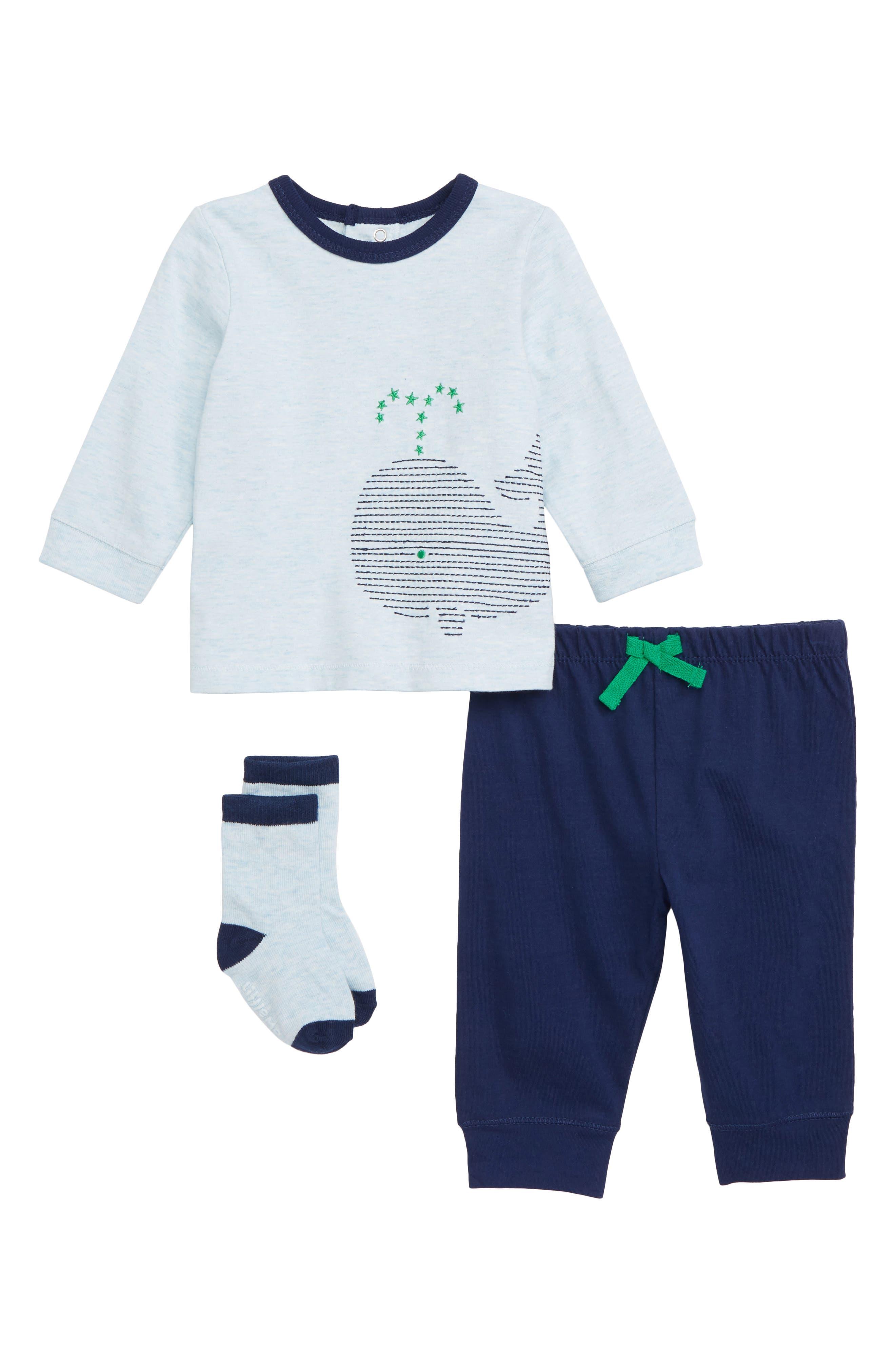 Whale T-Shirt, Pants & Socks Set, Main, color, 415